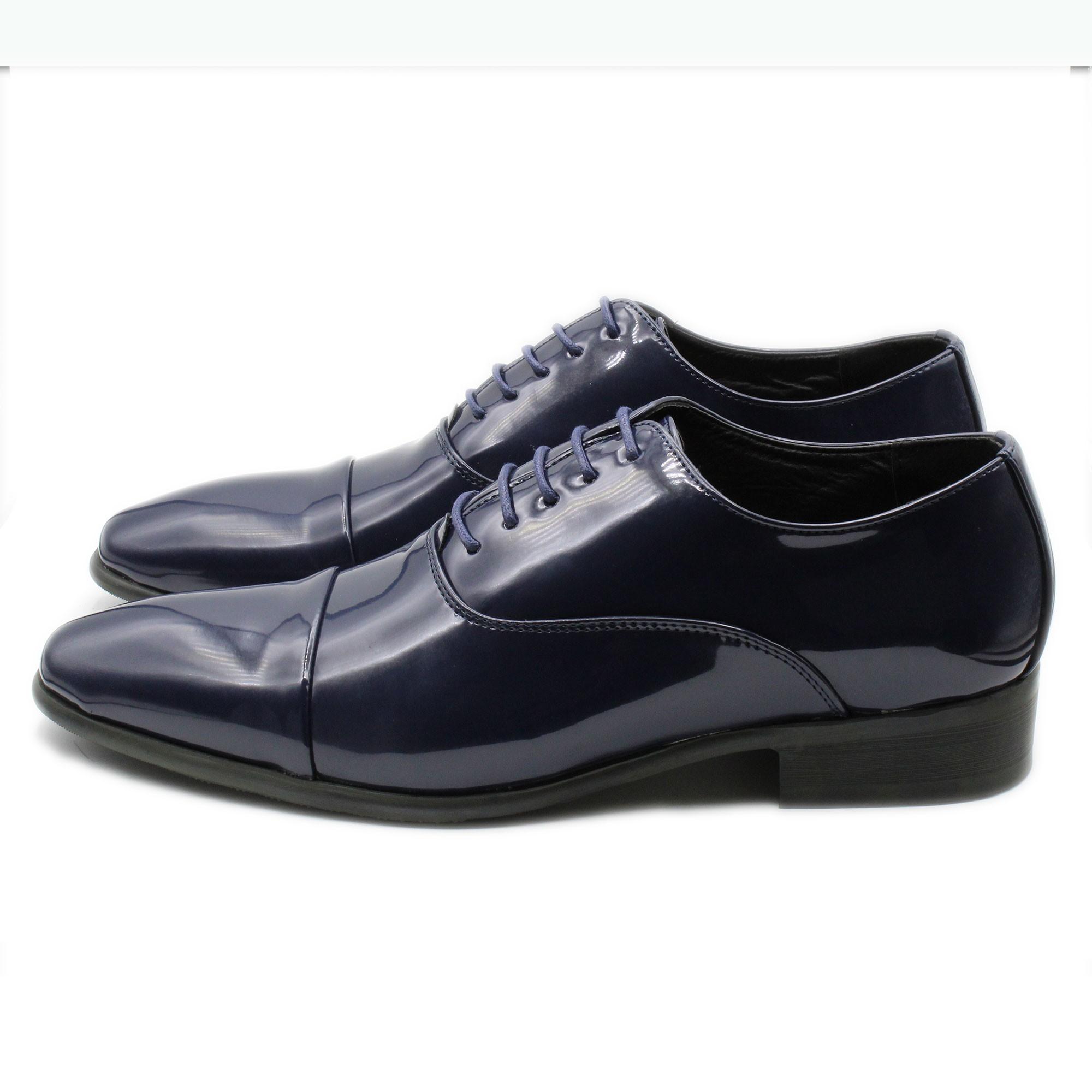 Scarpe-Uomo-Eleganti-Lucide-Blu-Nere-Francesine-Classiche-Cerimonia-Oxford miniatura 5