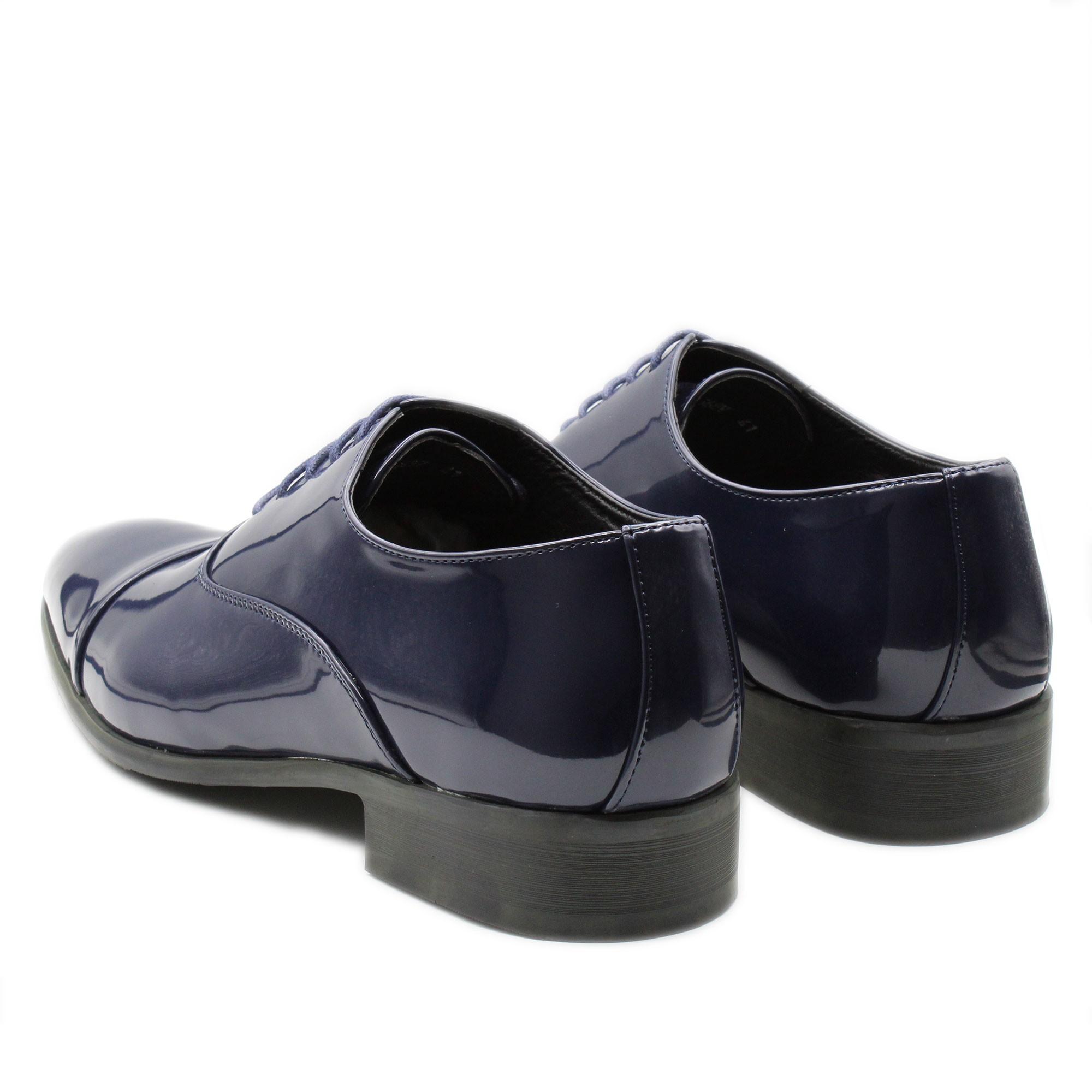 Scarpe-Uomo-Eleganti-Lucide-Blu-Nere-Francesine-Classiche-Cerimonia-Oxford miniatura 6