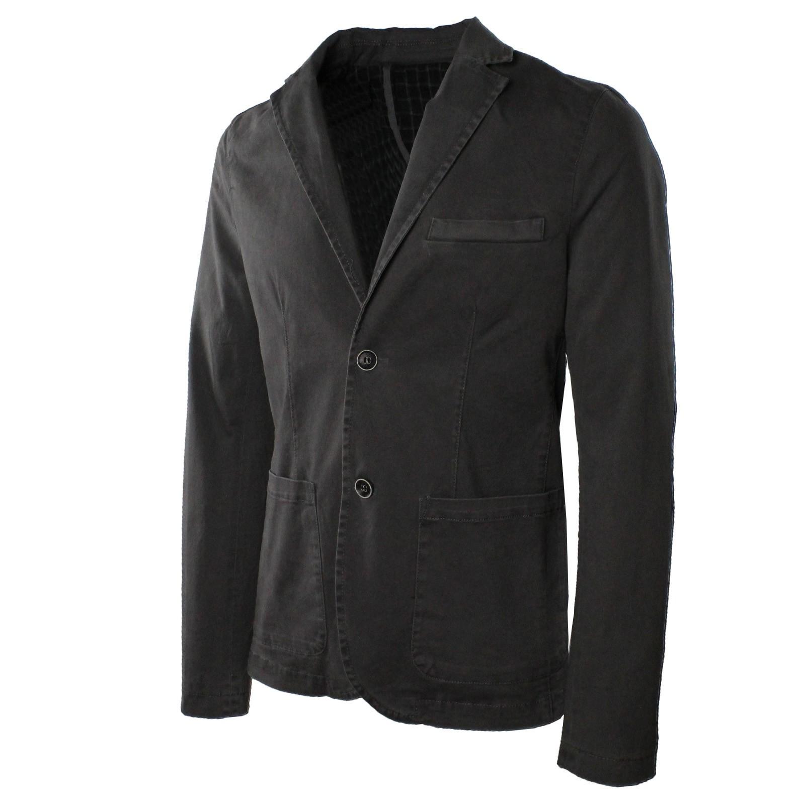 Giacca-Uomo-Elegante-Estiva-Slim-Fit-Blazer-in-Cotone-con-Toppe-Grigio-Sportiva miniatura 4