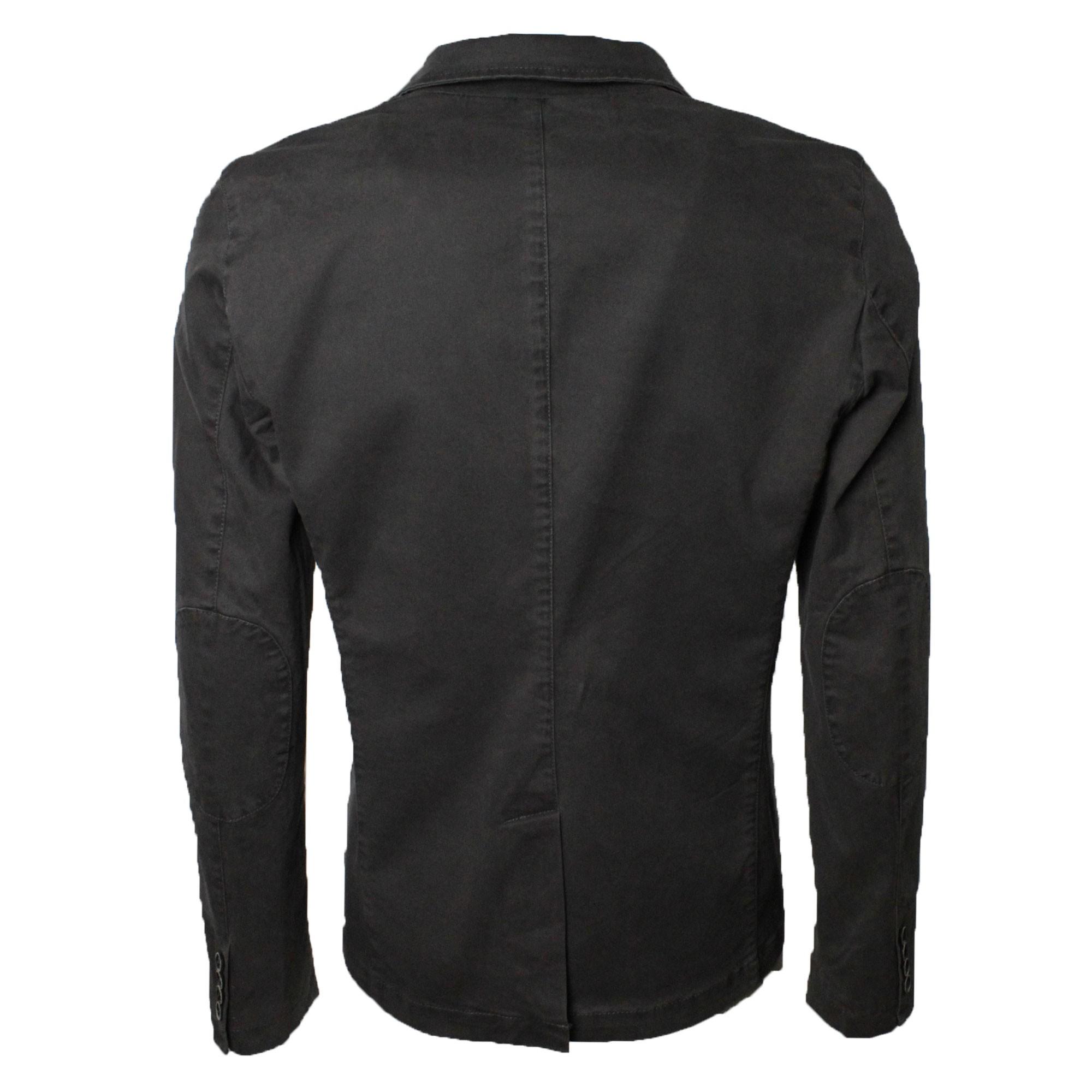 Giacca-Uomo-Elegante-Estiva-Slim-Fit-Blazer-in-Cotone-con-Toppe-Grigio-Sportiva miniatura 5