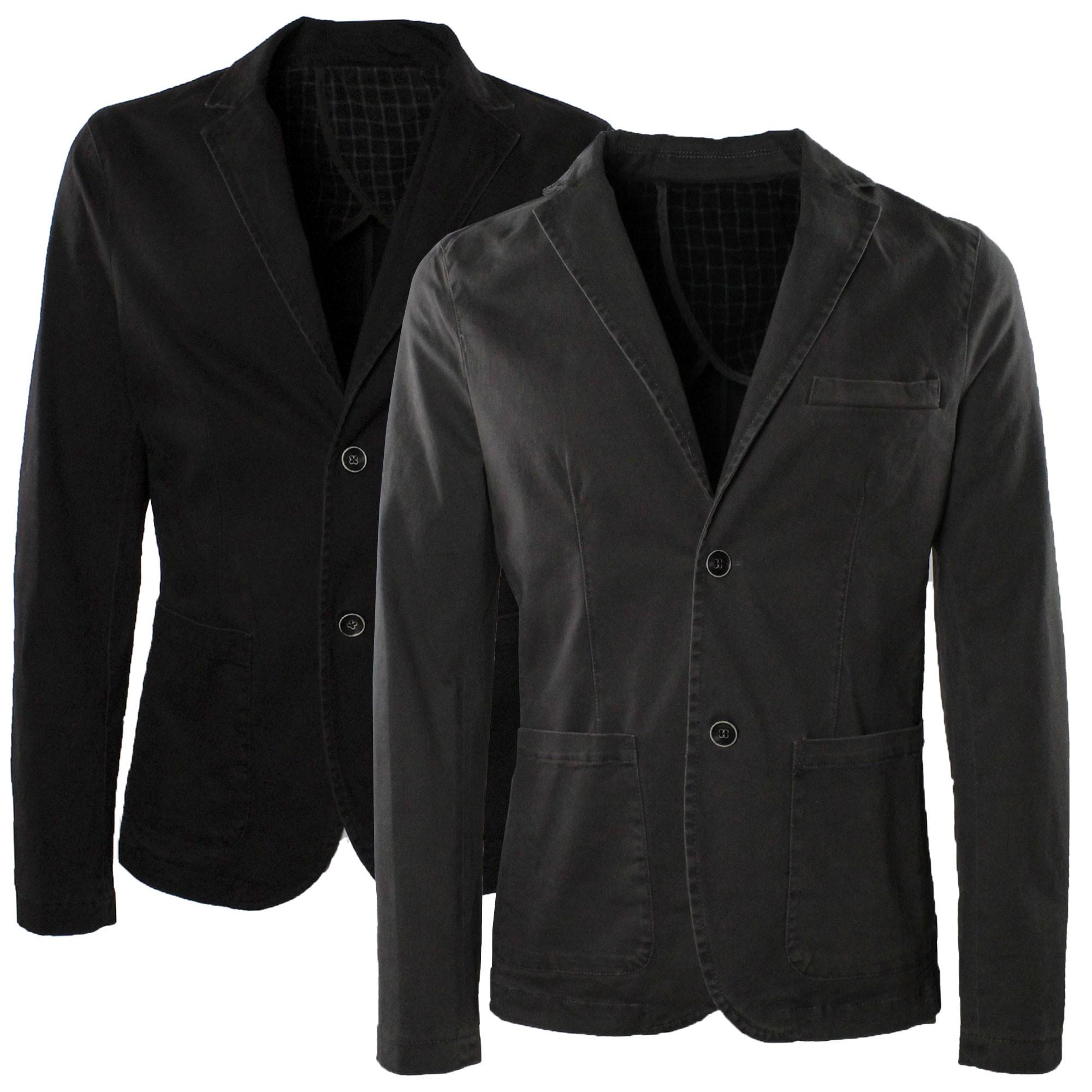 Giacca-Uomo-Elegante-Estiva-Slim-Fit-Blazer-in-Cotone-con-Toppe-Grigio-Sportiva miniatura 6