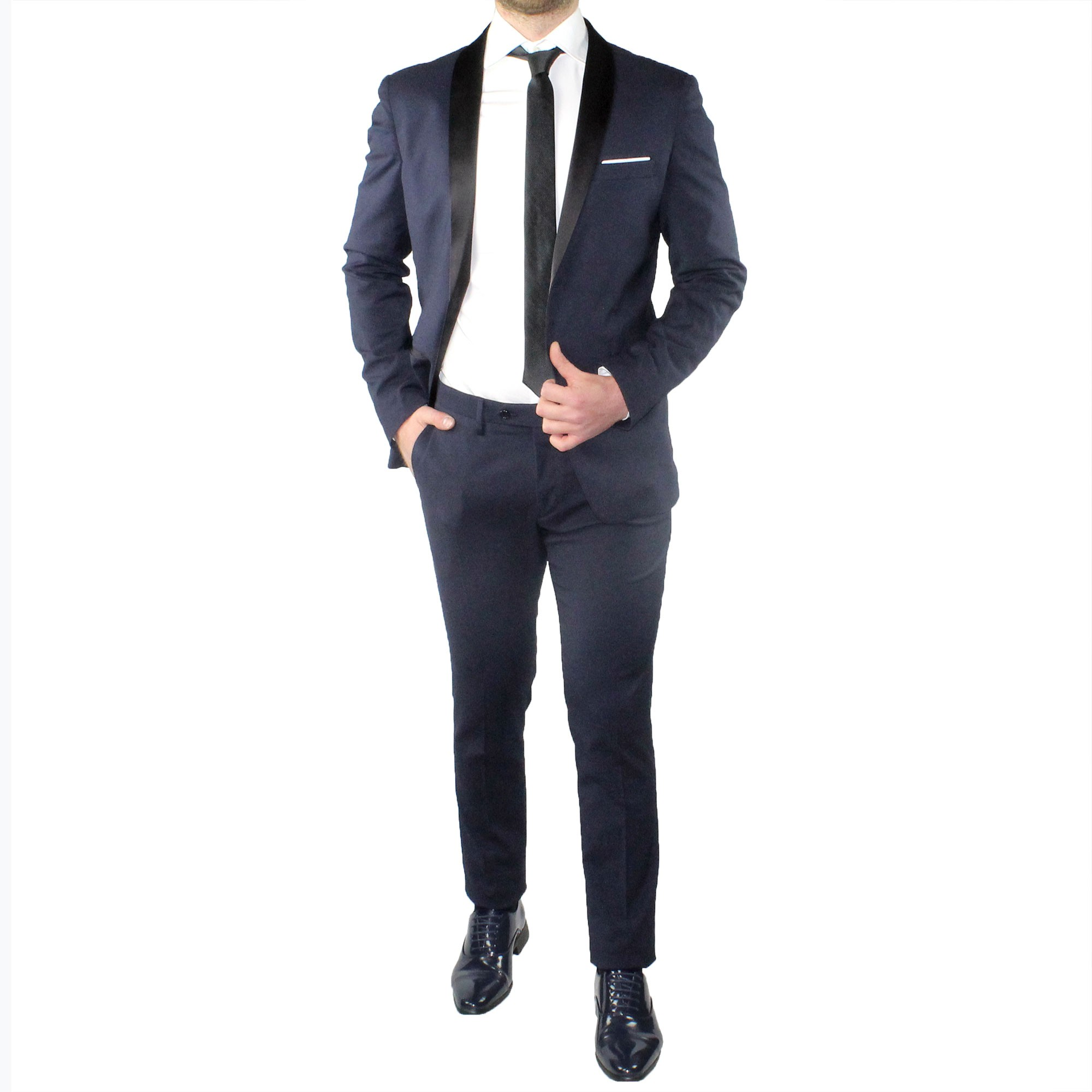 Abito-Uomo-Smoking-Elegante-Vestito-Completo-Estivo-Cerimonia-Sartoriale-Slim miniatura 3