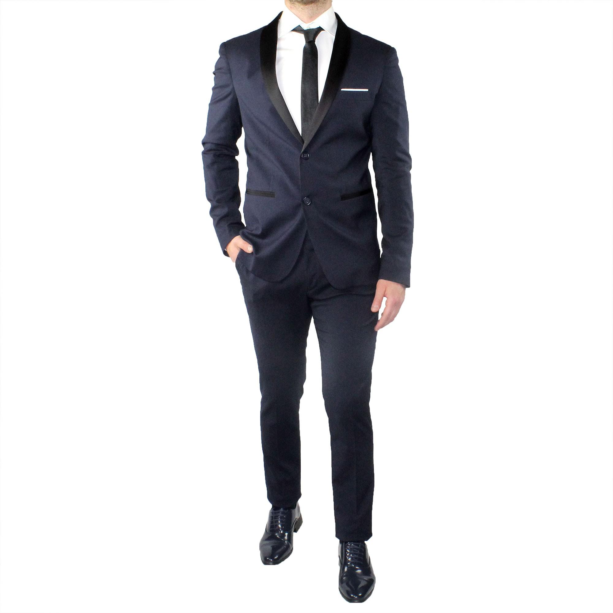 Abito-Uomo-Smoking-Elegante-Vestito-Completo-Estivo-Cerimonia-Sartoriale-Slim miniatura 4