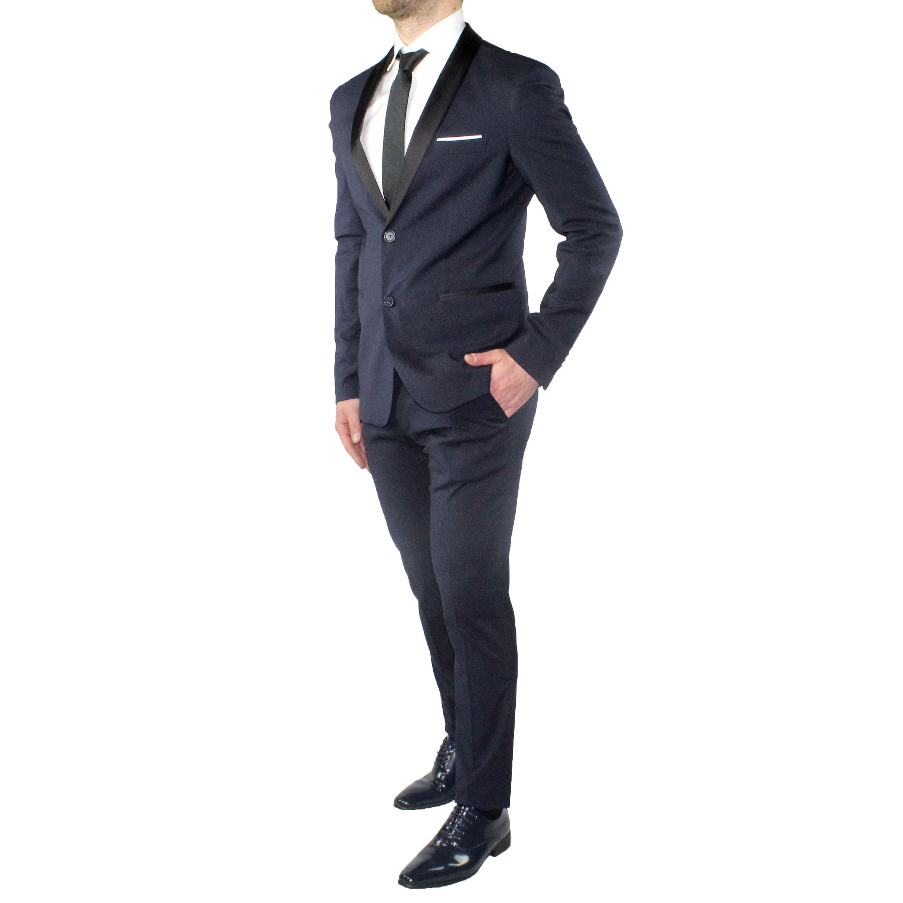 Abito-Uomo-Smoking-Elegante-Vestito-Completo-Estivo-Cerimonia-Sartoriale-Slim miniatura 6