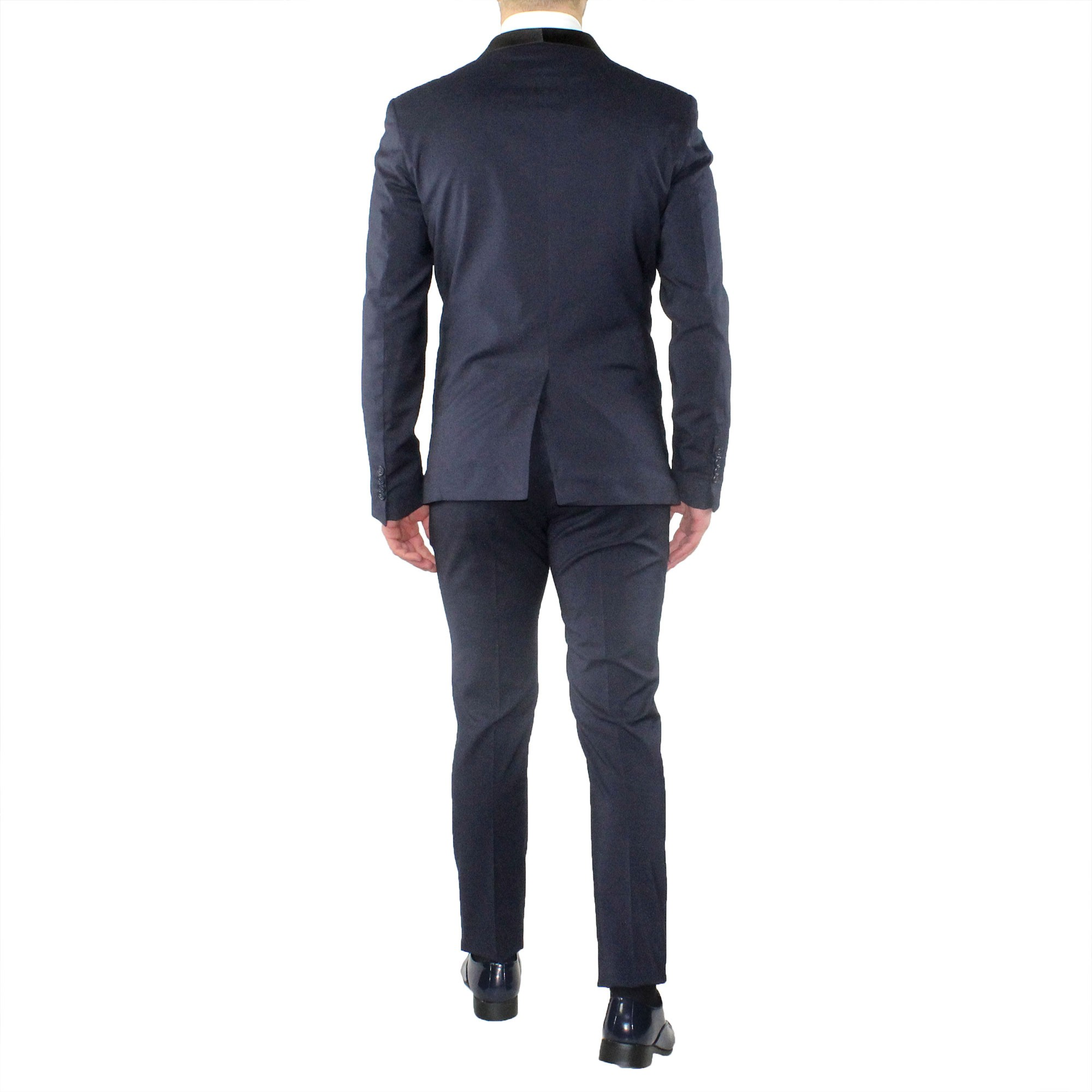 Abito-Uomo-Smoking-Elegante-Vestito-Completo-Estivo-Cerimonia-Sartoriale-Slim miniatura 7