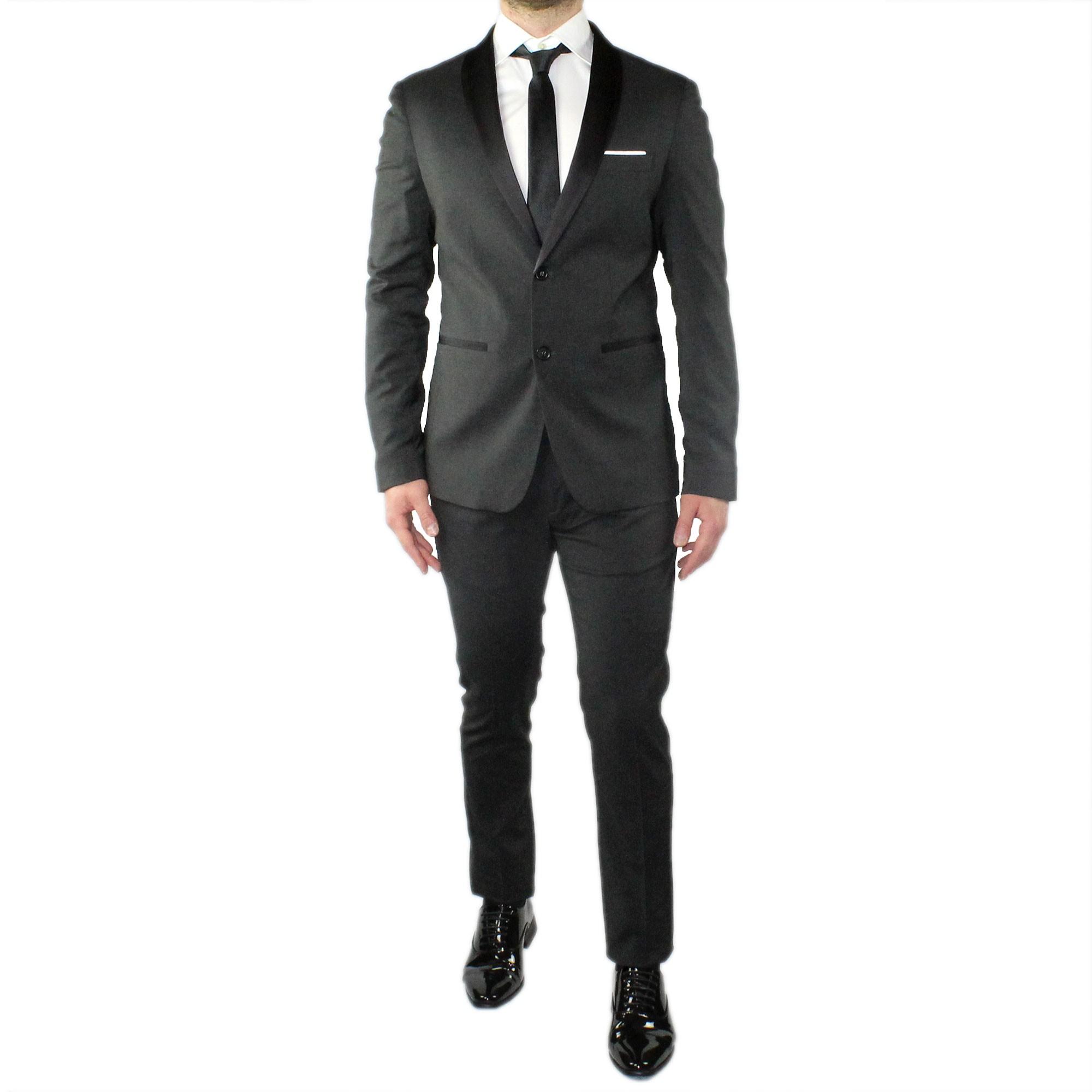 Abito-Uomo-Smoking-Elegante-Vestito-Completo-Estivo-Cerimonia-Sartoriale-Slim miniatura 10