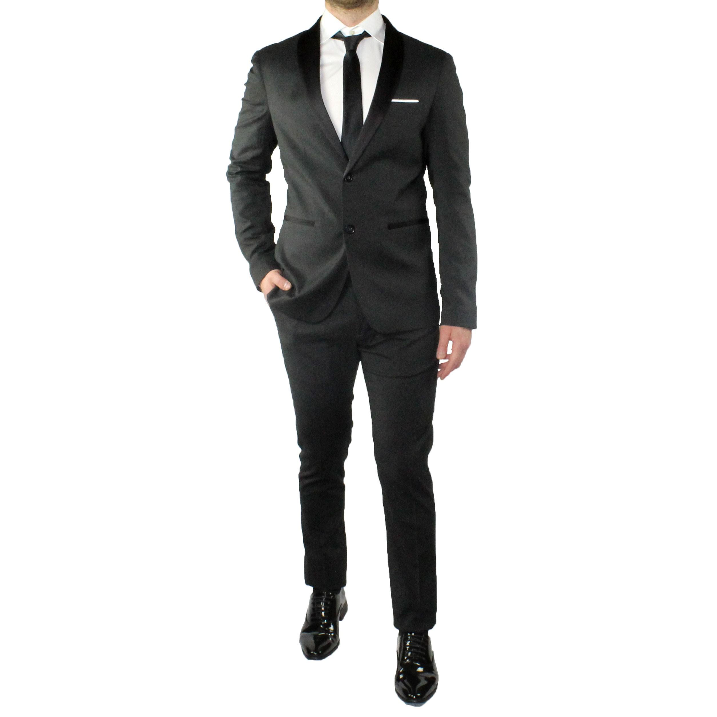 Abito-Uomo-Smoking-Elegante-Vestito-Completo-Estivo-Cerimonia-Sartoriale-Slim miniatura 11
