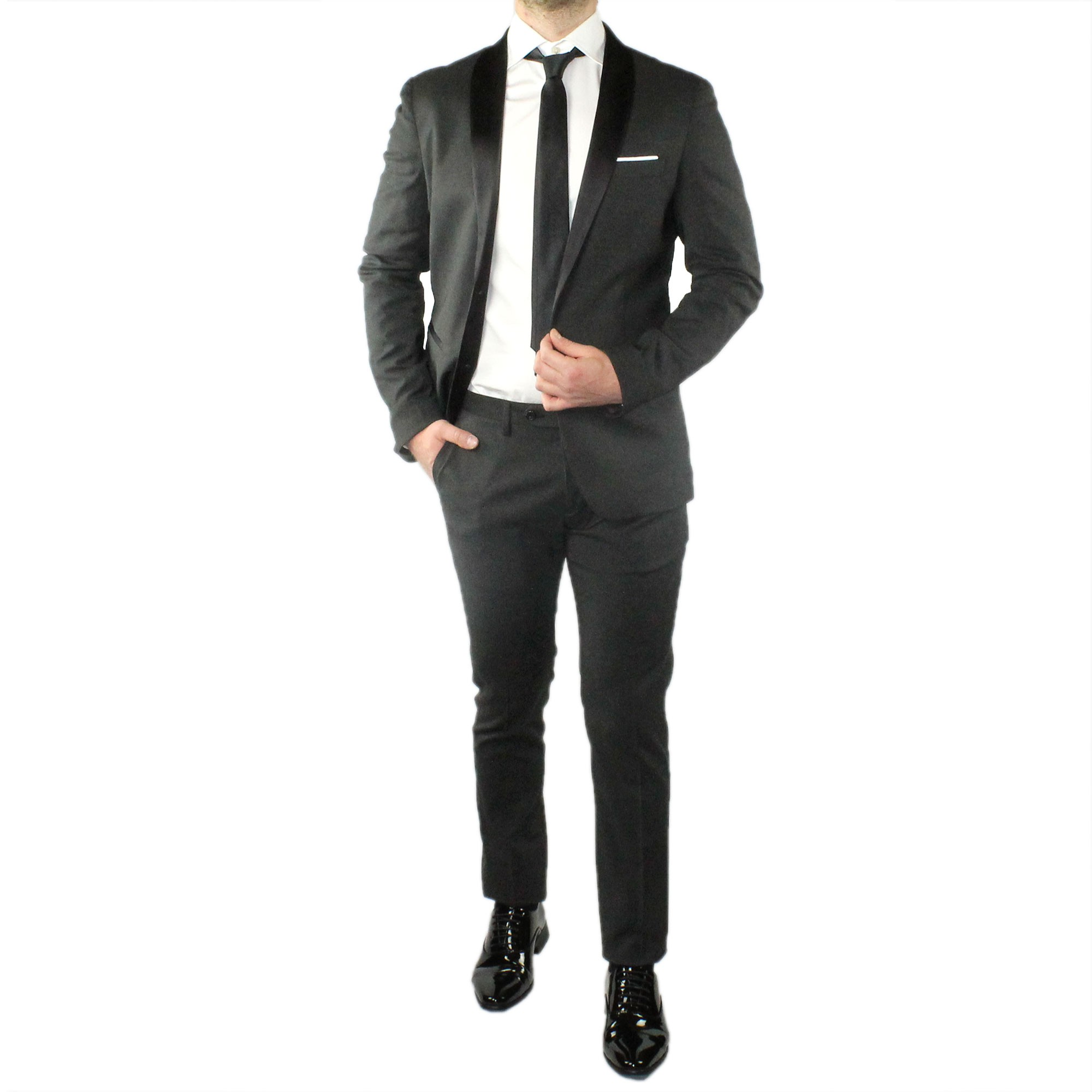 Abito-Uomo-Smoking-Elegante-Vestito-Completo-Estivo-Cerimonia-Sartoriale-Slim miniatura 9