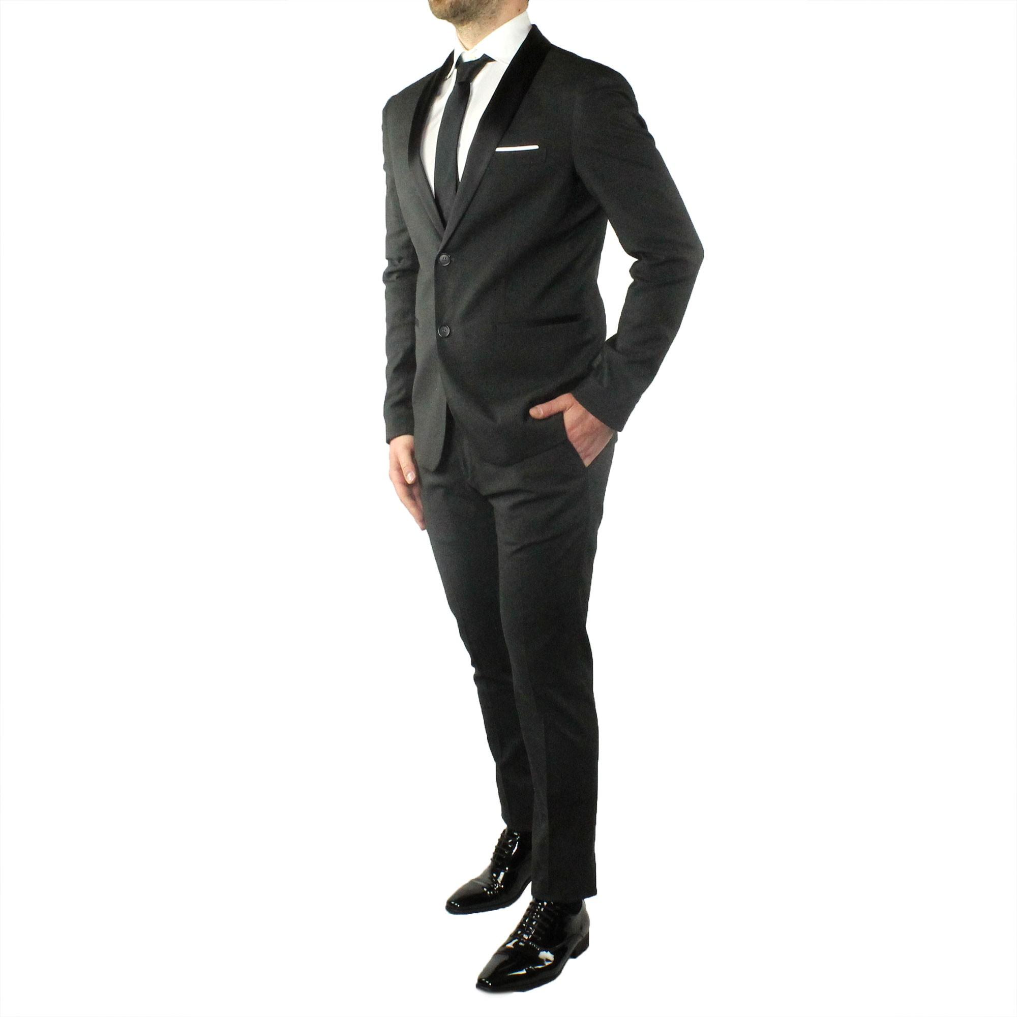 Abito-Uomo-Smoking-Elegante-Vestito-Completo-Estivo-Cerimonia-Sartoriale-Slim miniatura 12