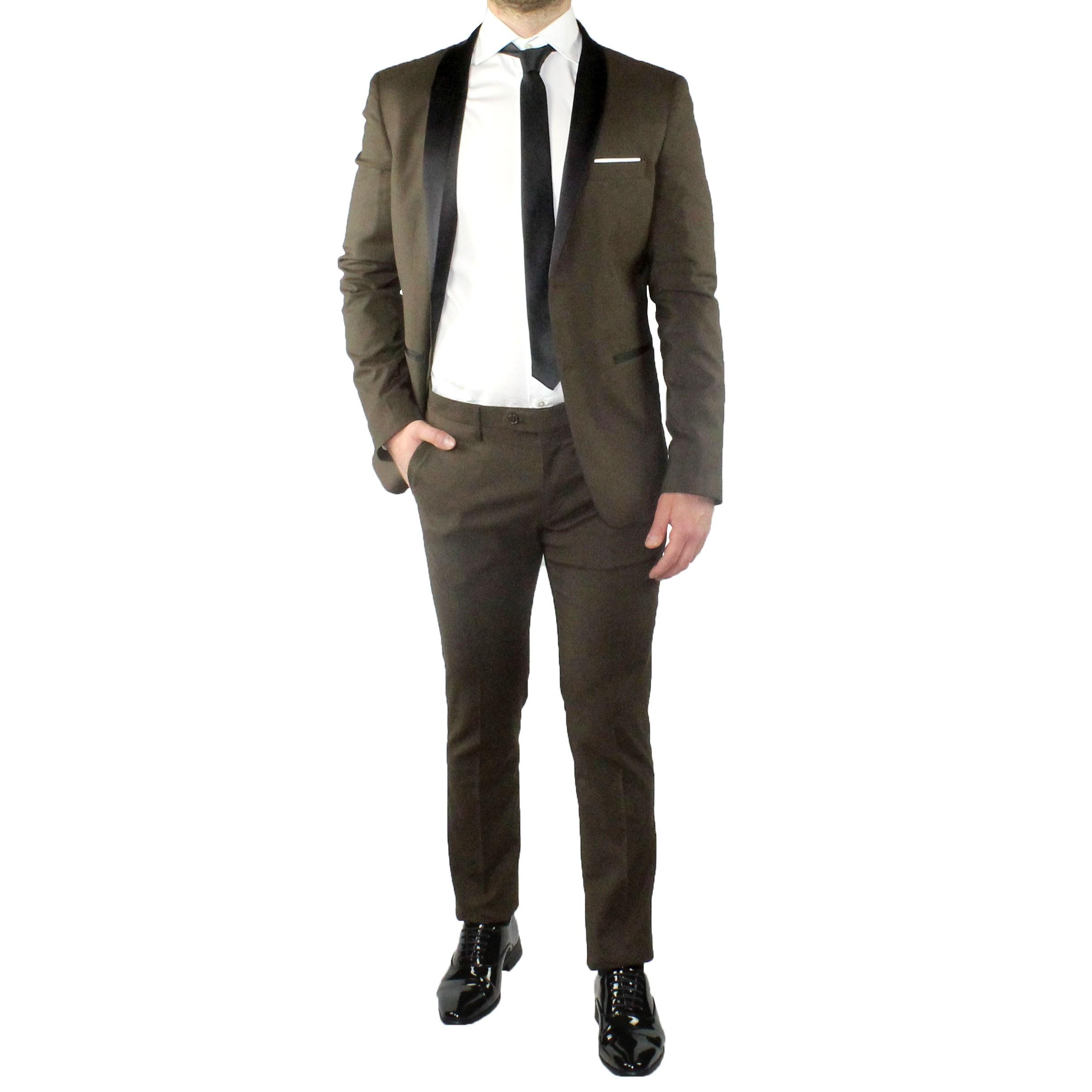 Abito-Uomo-Smoking-Elegante-Vestito-Completo-Estivo-Cerimonia-Sartoriale-Slim miniatura 15