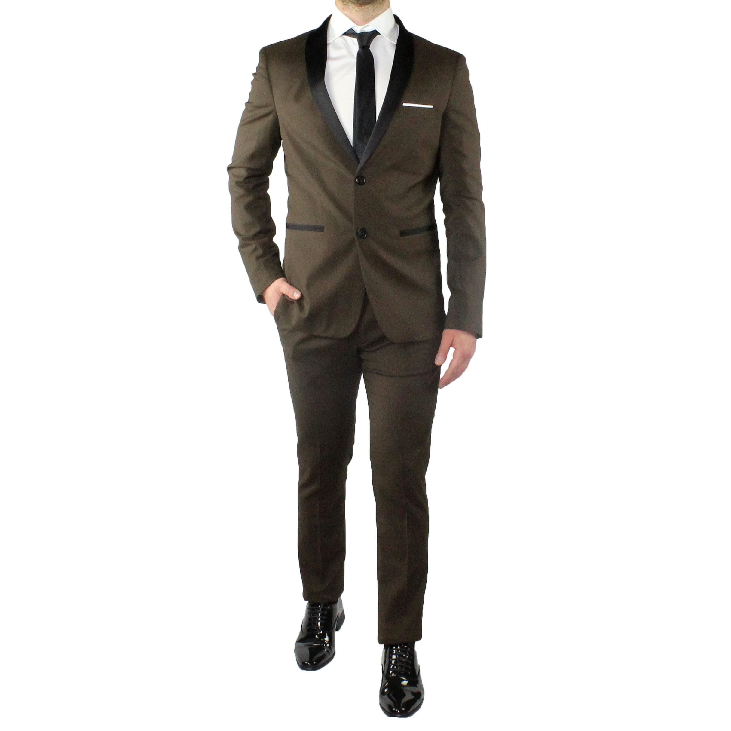 Abito-Uomo-Smoking-Elegante-Vestito-Completo-Estivo-Cerimonia-Sartoriale-Slim miniatura 16