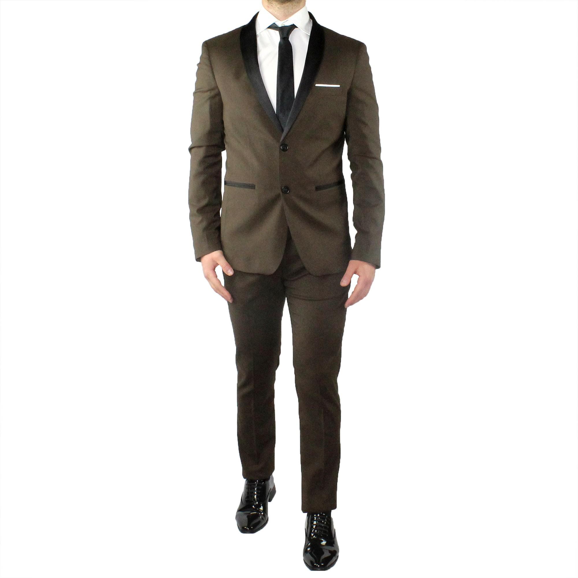 Abito-Uomo-Smoking-Elegante-Vestito-Completo-Estivo-Cerimonia-Sartoriale-Slim miniatura 17