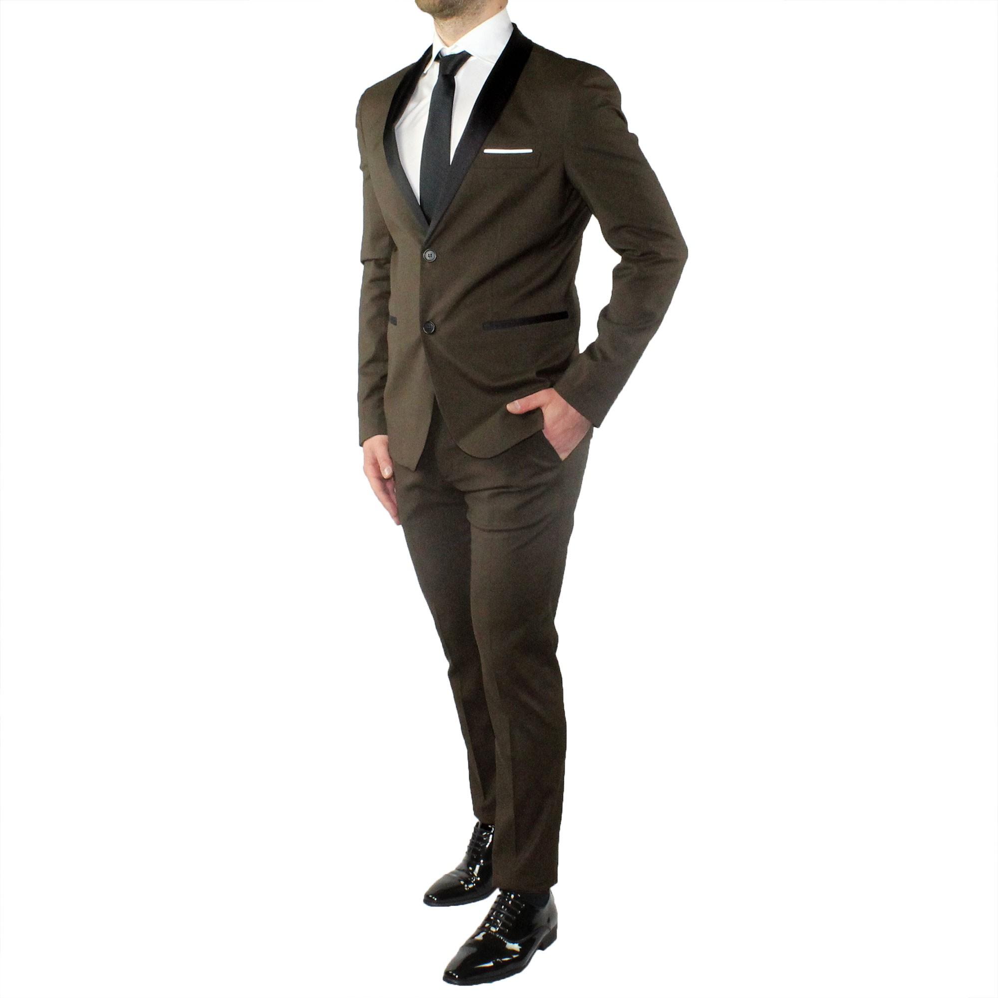 Abito-Uomo-Smoking-Elegante-Vestito-Completo-Estivo-Cerimonia-Sartoriale-Slim miniatura 18