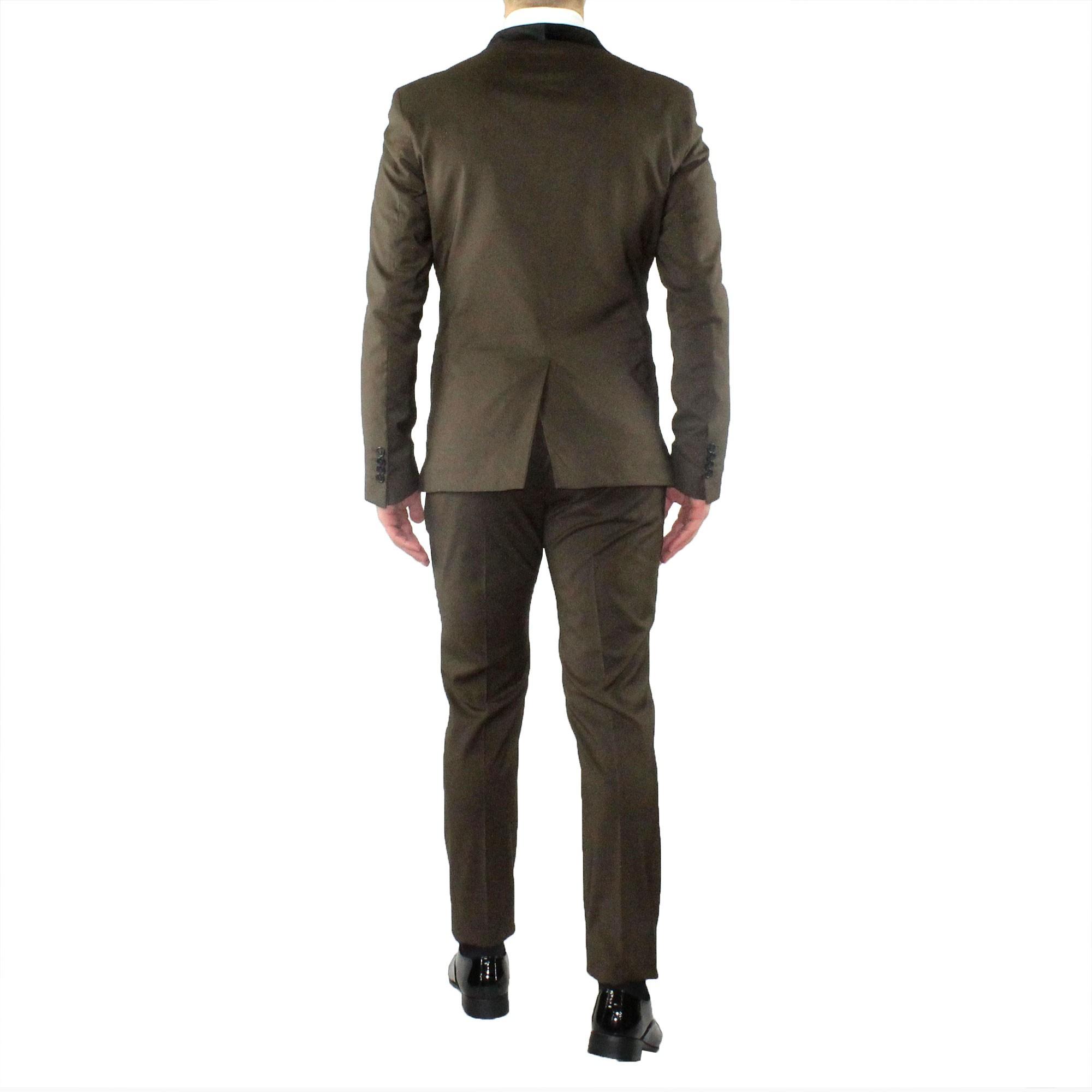 Abito-Uomo-Smoking-Elegante-Vestito-Completo-Estivo-Cerimonia-Sartoriale-Slim miniatura 19