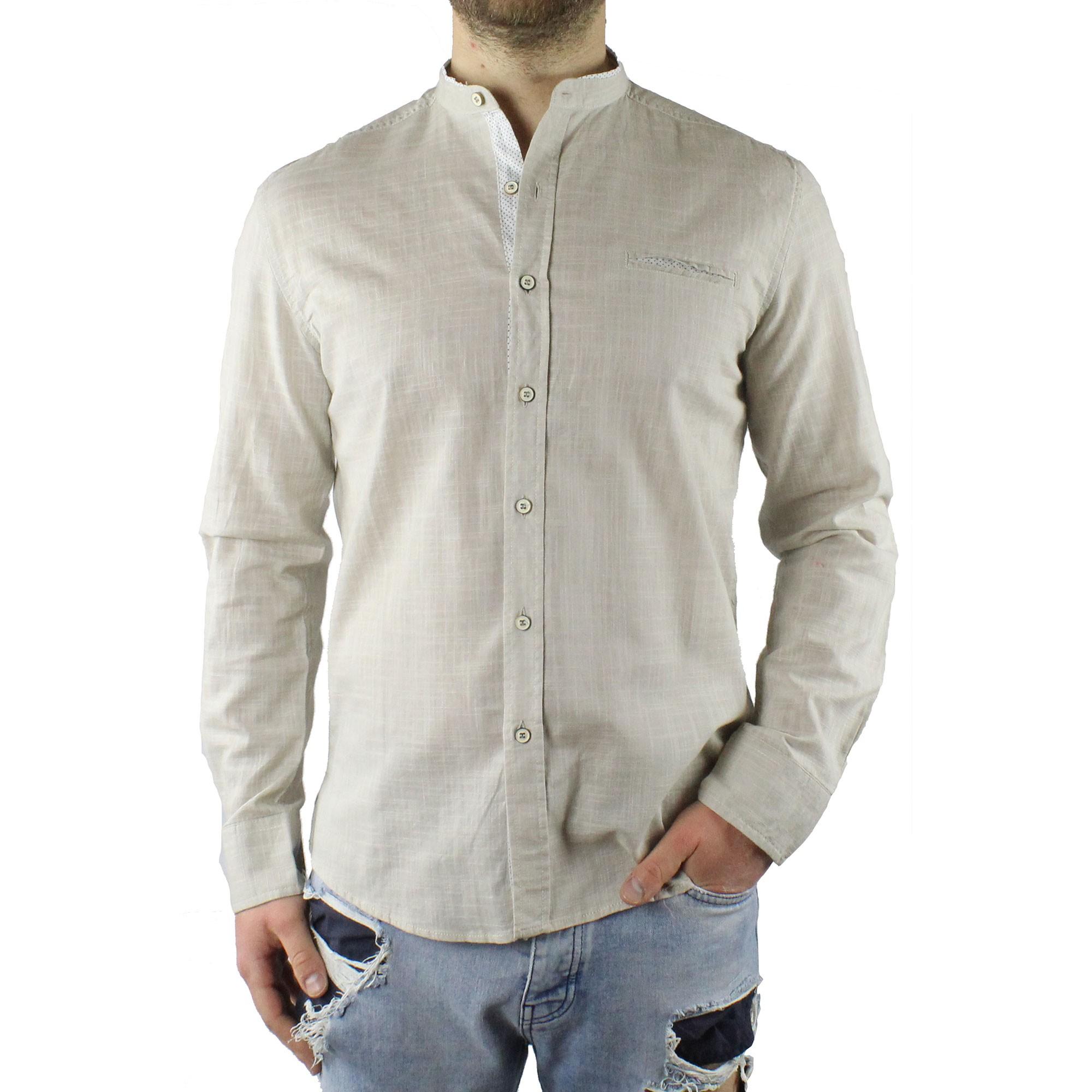 Camicia-Uomo-Collo-Coreana-Cotone-Casual-Slim-Fit-Manica-Lunga-Sartoriale-Estiva miniatura 12