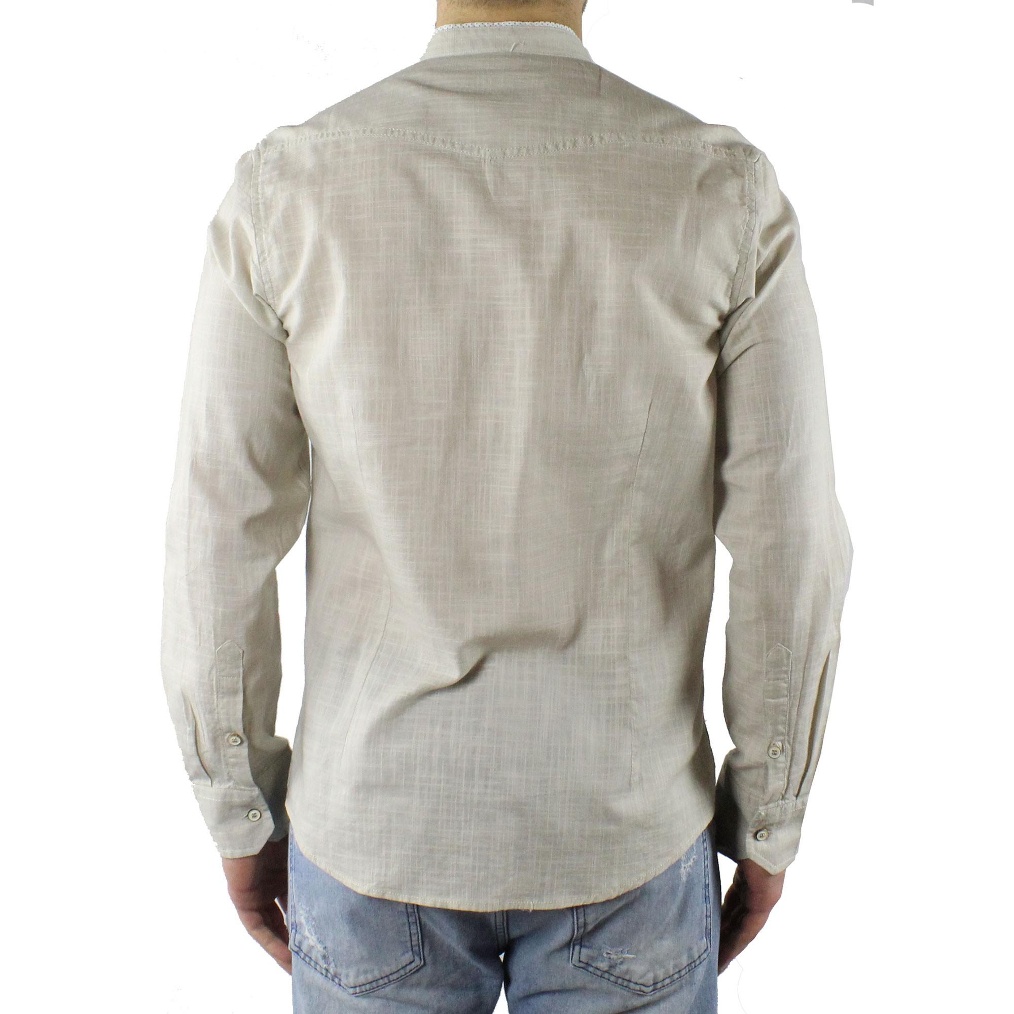 Camicia-Uomo-Collo-Coreana-Cotone-Casual-Slim-Fit-Manica-Lunga-Sartoriale-Estiva miniatura 13
