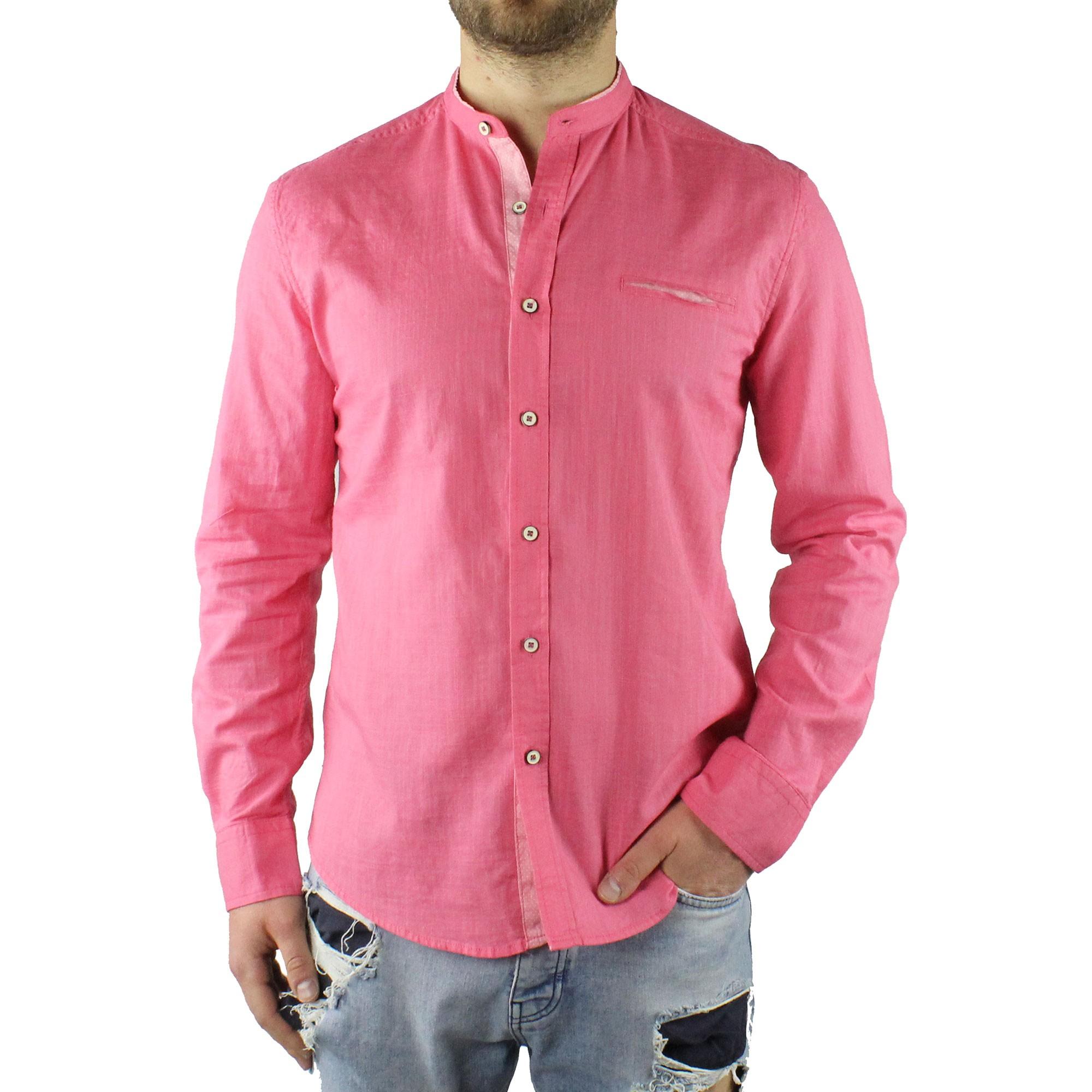 Camicia-Uomo-Collo-Coreana-Cotone-Casual-Slim-Fit-Manica-Lunga-Sartoriale-Estiva miniatura 9