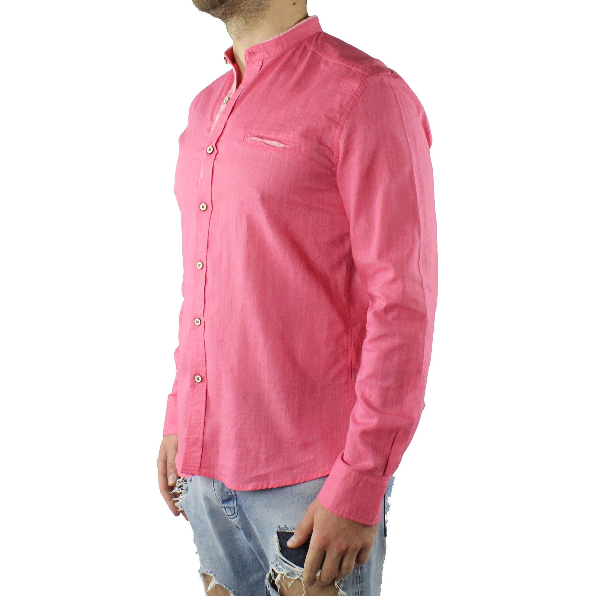 Camicia-Uomo-Collo-Coreana-Cotone-Casual-Slim-Fit-Manica-Lunga-Sartoriale-Estiva miniatura 10