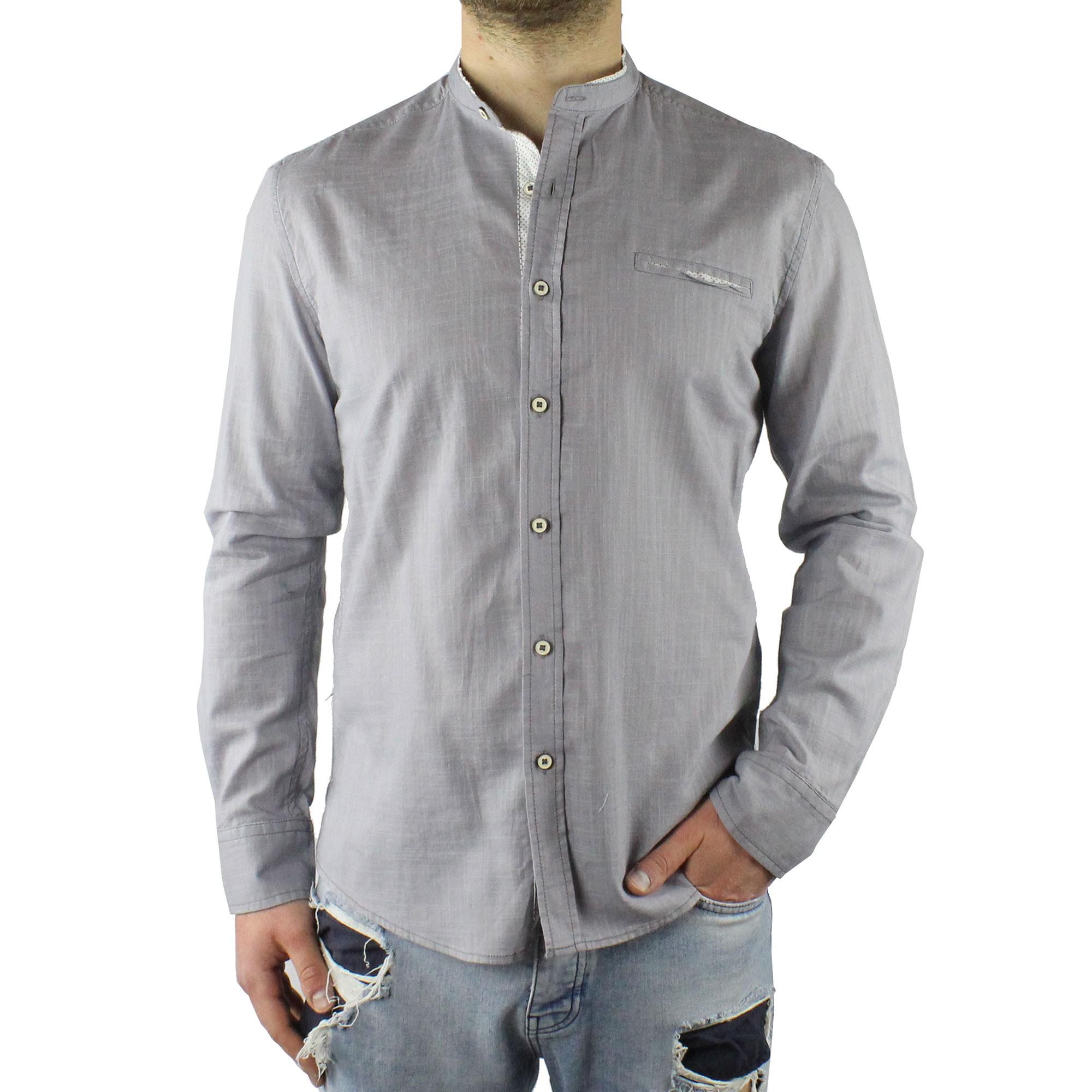 Camicia-Uomo-Collo-Coreana-Cotone-Casual-Slim-Fit-Manica-Lunga-Sartoriale-Estiva miniatura 6
