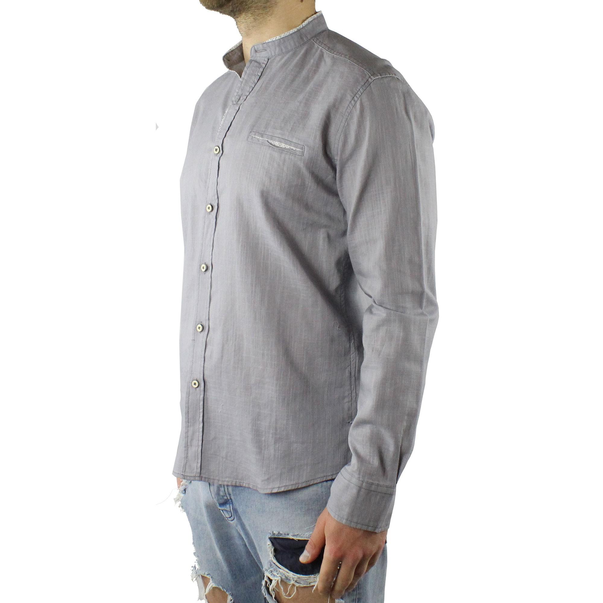 Camicia-Uomo-Collo-Coreana-Cotone-Casual-Slim-Fit-Manica-Lunga-Sartoriale-Estiva miniatura 7