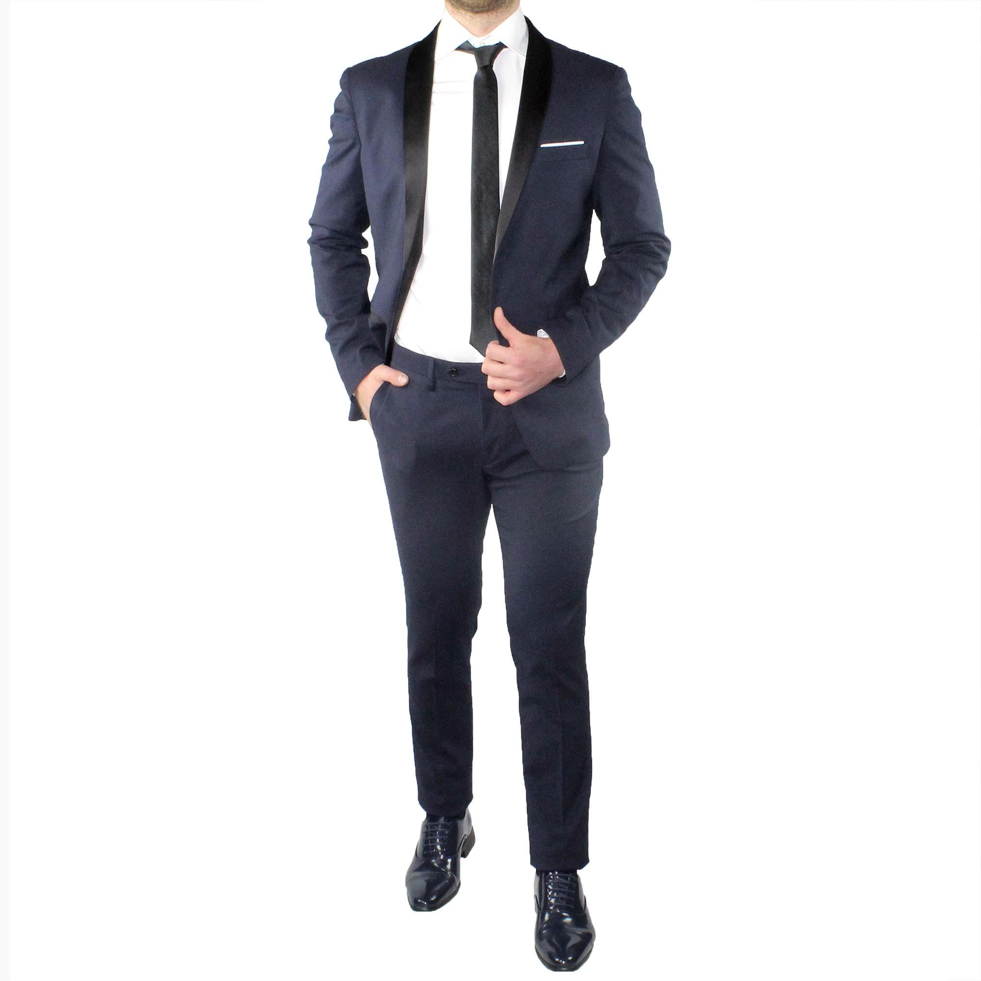 Dettagli su Abito Uomo Smoking Elegante Blu Vestito Completo Estivo Cerimonia Sartoriale