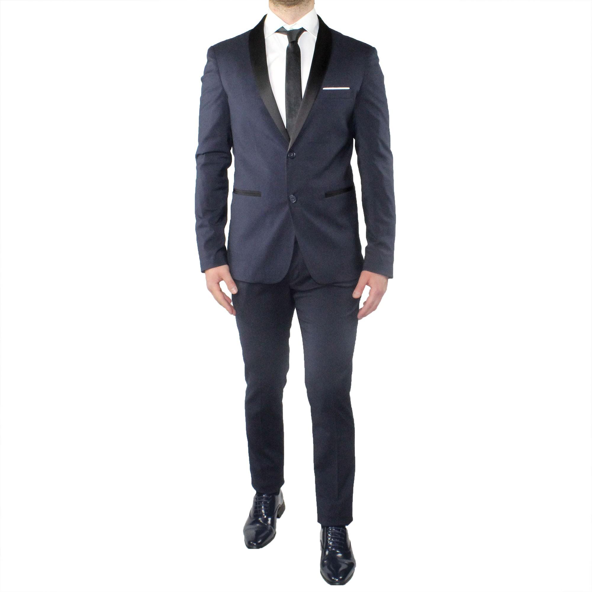 big sale 5204d fee6f Dettagli su Abito Uomo Smoking Elegante Blu Vestito Completo Estivo  Cerimonia Sartoriale