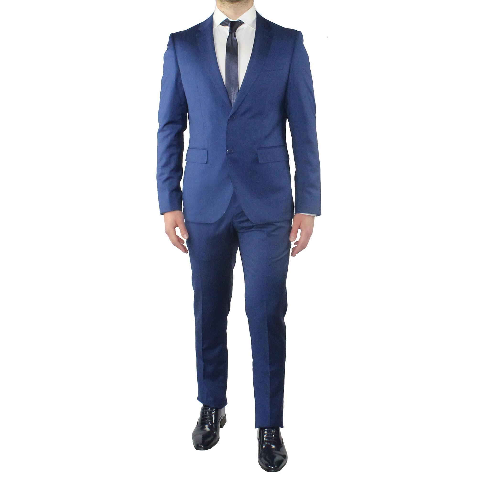 Vestiti Eleganti Uomo.Abito Uomo Elegante Blu Vestito Completo Estivo Cerimonia