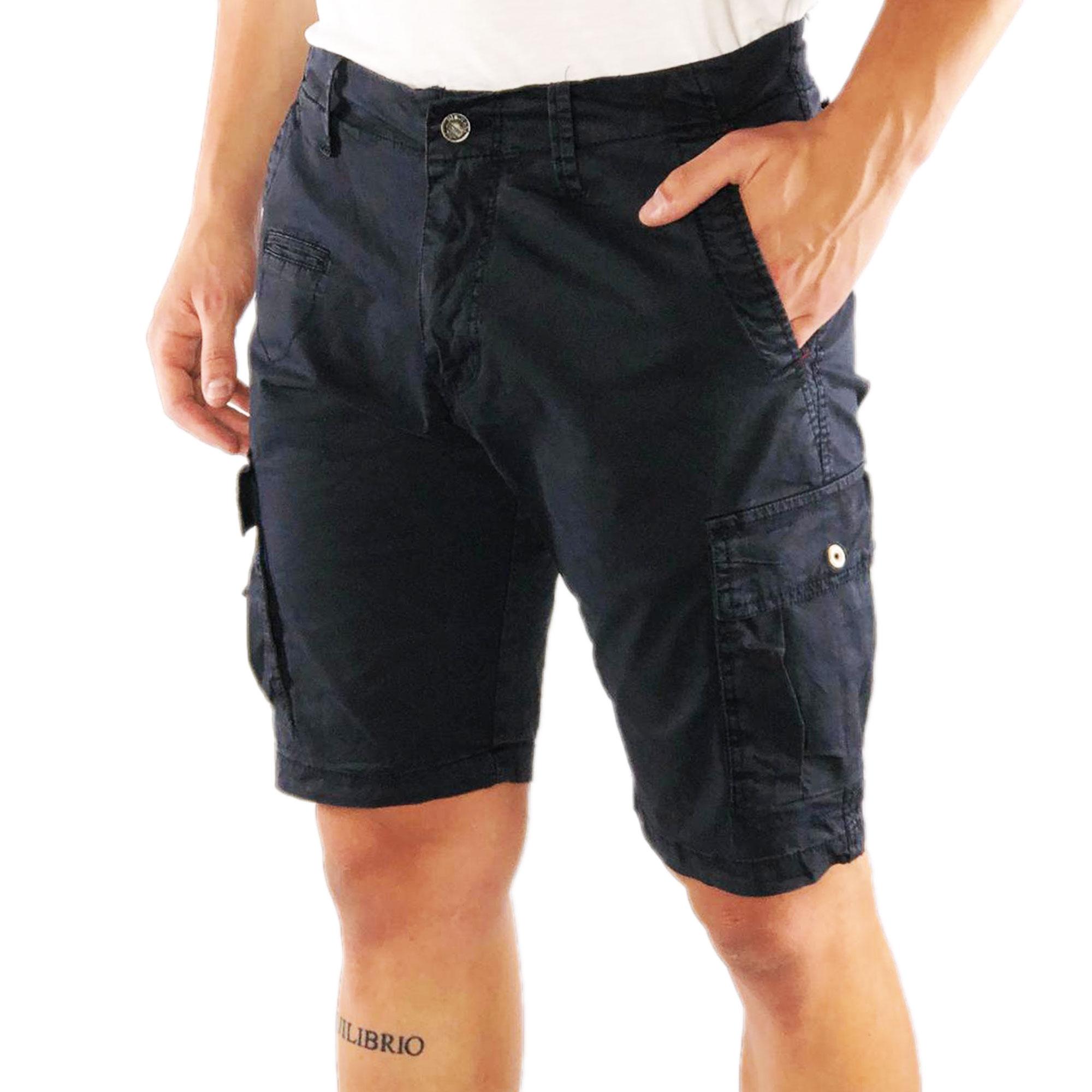 Bermuda-Uomo-Cargo-Cotone-Pantalone-Corto-Jeans-Tasconi-Laterali-Shorts-Casual miniatura 3