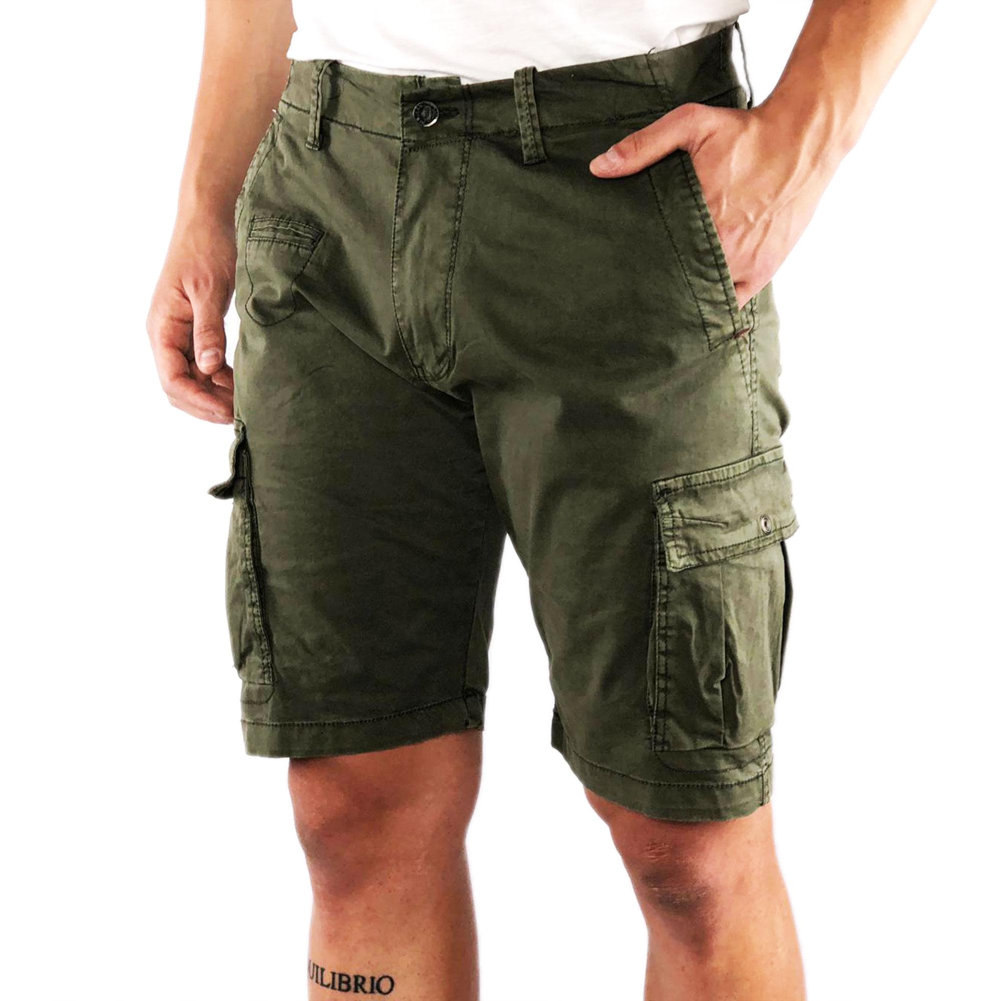 Bermuda-Uomo-Cargo-Cotone-Pantalone-Corto-Jeans-Tasconi-Laterali-Shorts-Casual miniatura 6