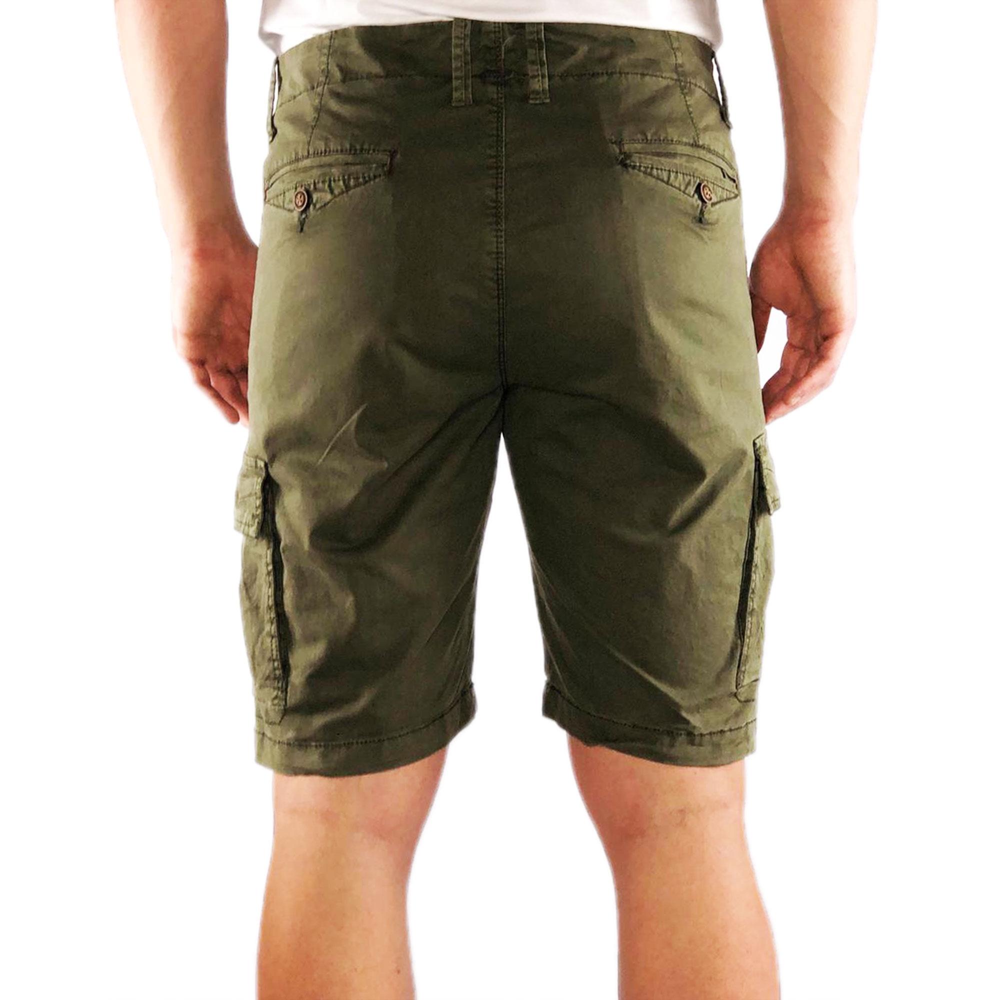 Bermuda-Uomo-Cargo-Cotone-Jeans-Tasconi-Laterali-Pantalone-Corto-Shorts-Casual miniatura 7