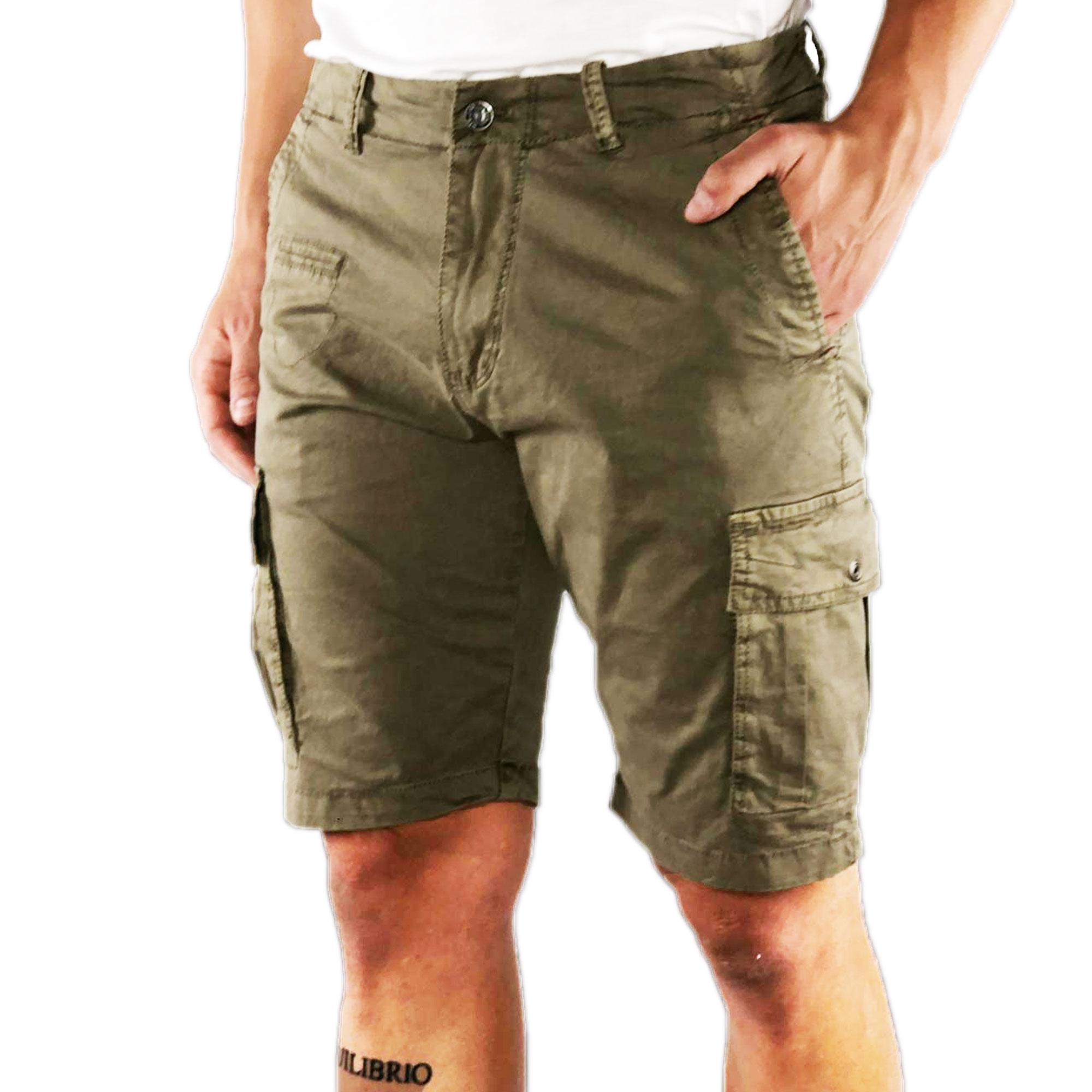 Bermuda-Uomo-Cargo-Cotone-Jeans-Tasconi-Laterali-Pantalone-Corto-Shorts-Casual miniatura 9