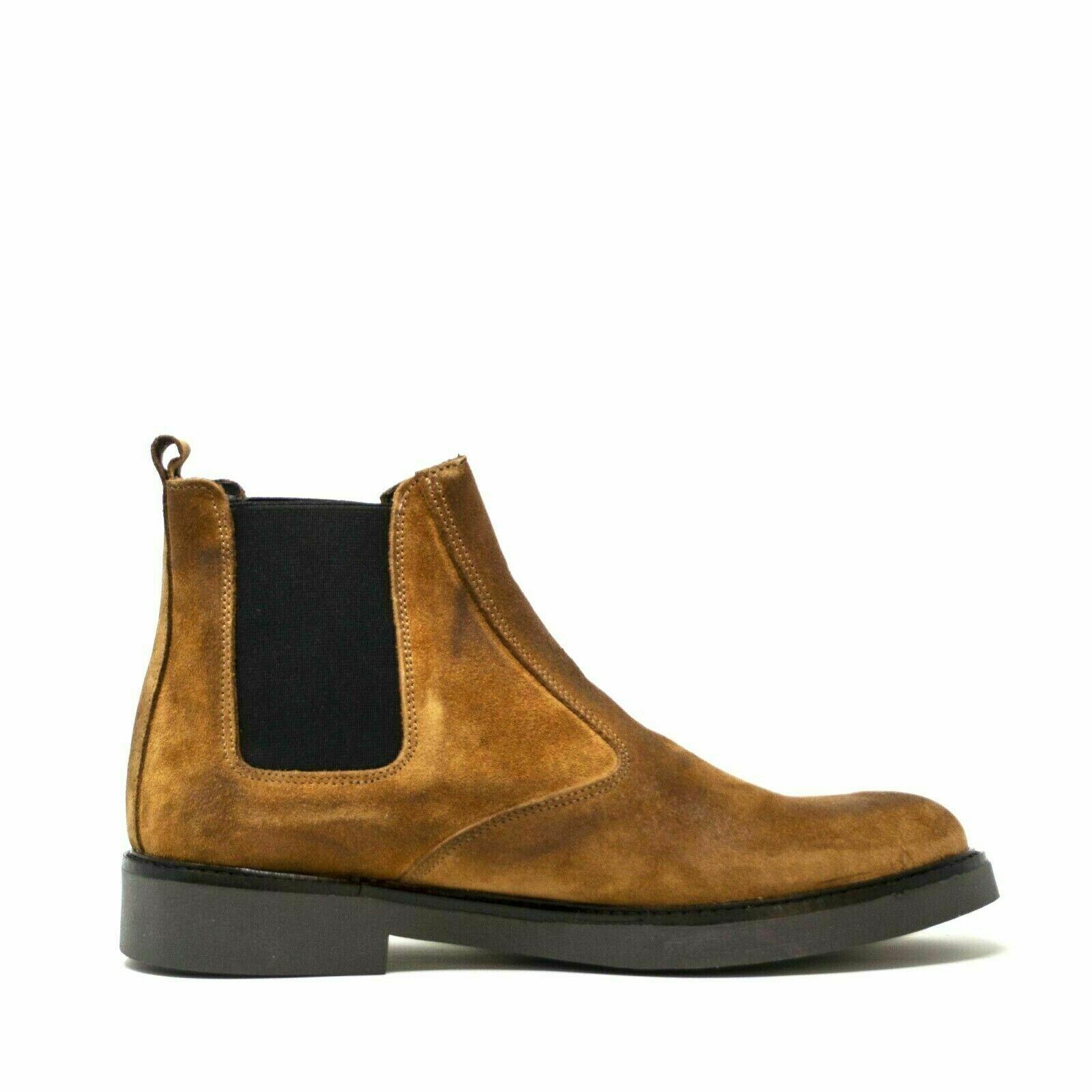 Scarpe da Uomo in Pelle Camoscio Stivaletti Chelsea Stivali