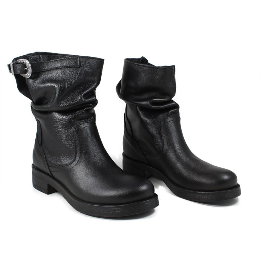 Stivali Stivaletti Biker Boots Donna Bassi Vera Pelle Nero