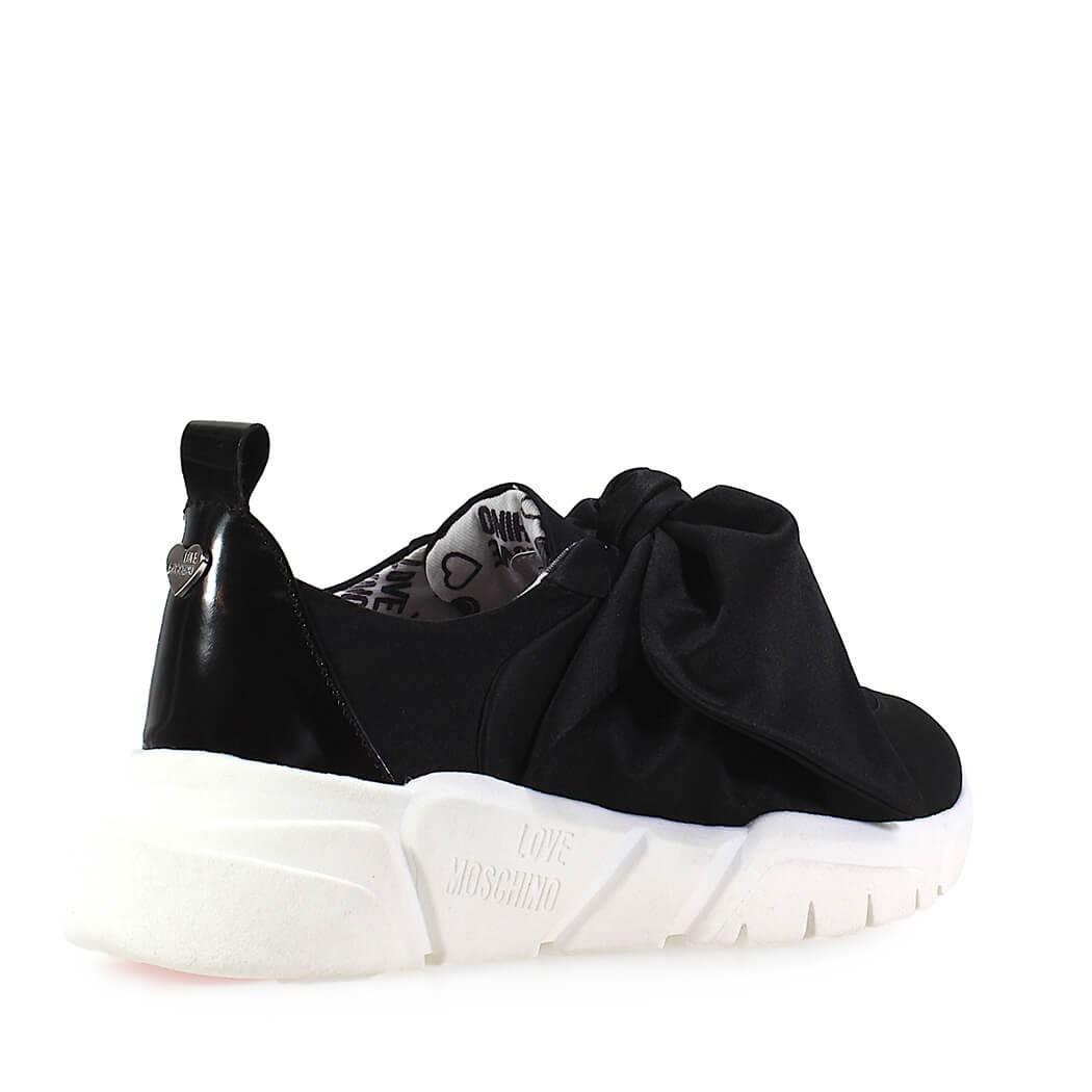 check out 30cdb 8805c Dettagli su Scarpe da Donna Sneaker Raso Fiocco Nera Love Moschino  Primavera Estate 2019