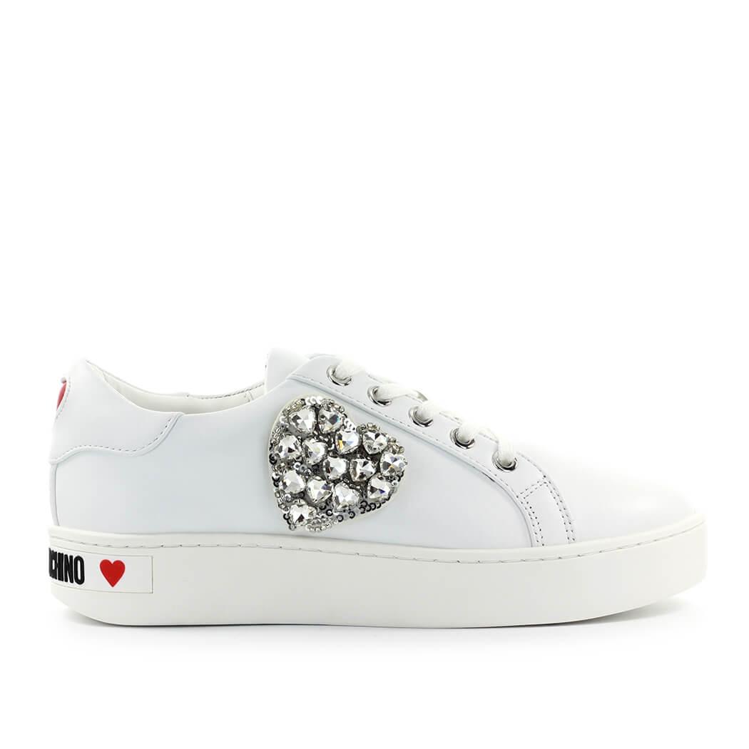 Folleto cuerno abdomen  Zapatos de Mujer Zapatilla Blanca Corazon Swarovski Love Moschino FW2020 |  eBay