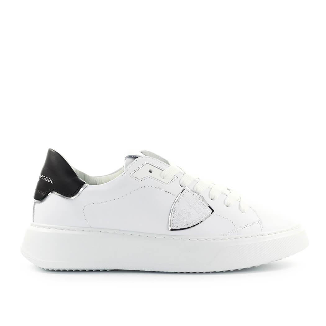 Scarpe-da-Donna-Sneaker-Temple-Bianco-Nero-Philippe-Model-FW2020
