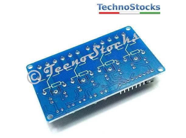 Relay Module Arduino PIC Atmel Modulo 4 canali Relè 5V Carichi fino 250V 10A