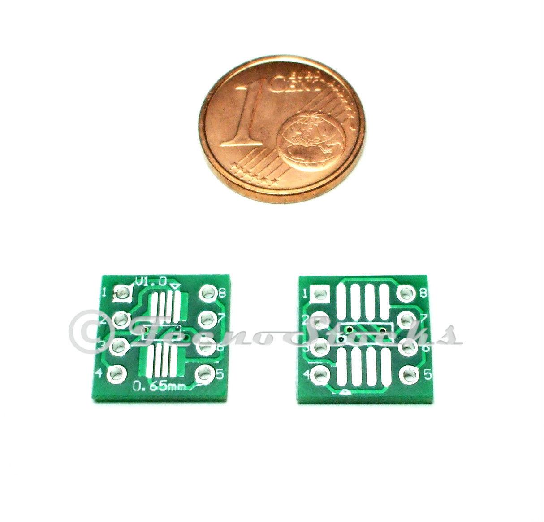 2x Adattatore SOP8 SMD to DIP8 Zoccolo 8 pin Circuiti Integrati DIL Adapter