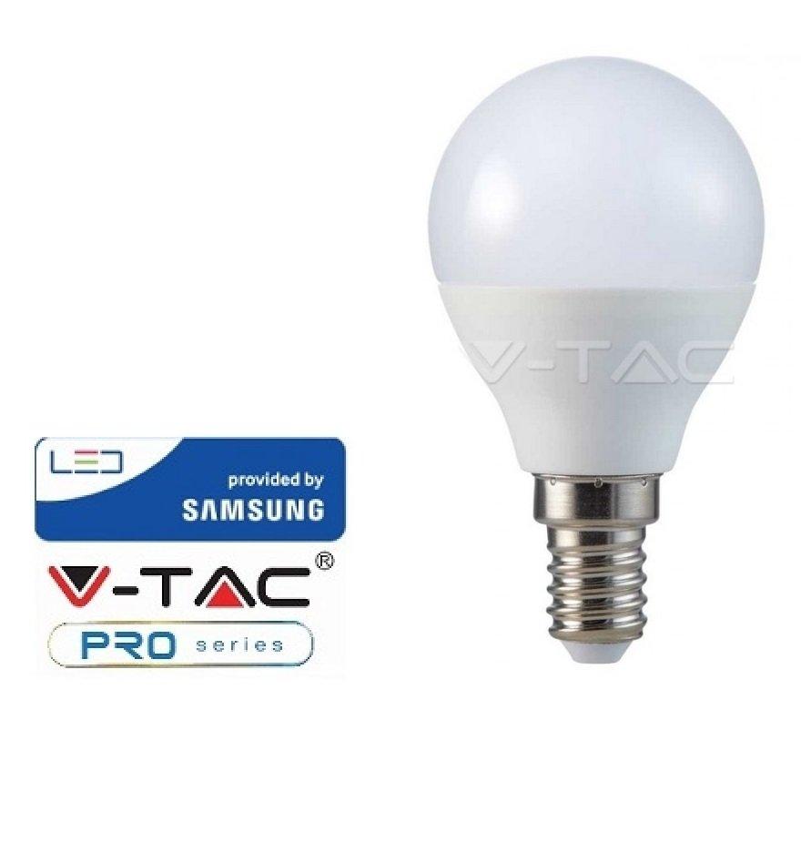 10 LAMPADINE V-TAC SAMSUNG LED E14 5.5W MINI GLOBO CALDA FREDDA NATURALE VT-236