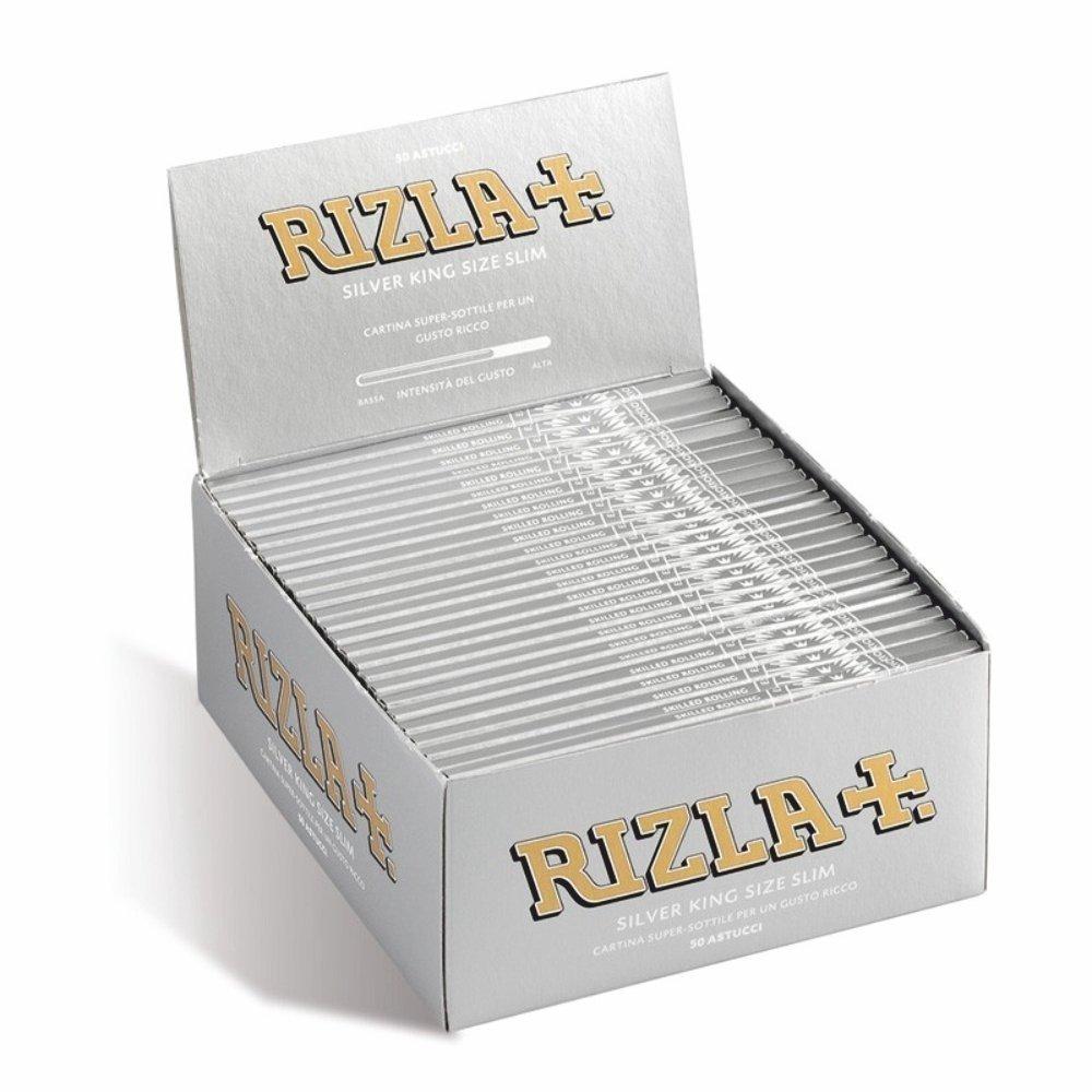 Cartine Rizla Silver Argento Lunghe  KING SIZE slim 50 libretti 1 Box