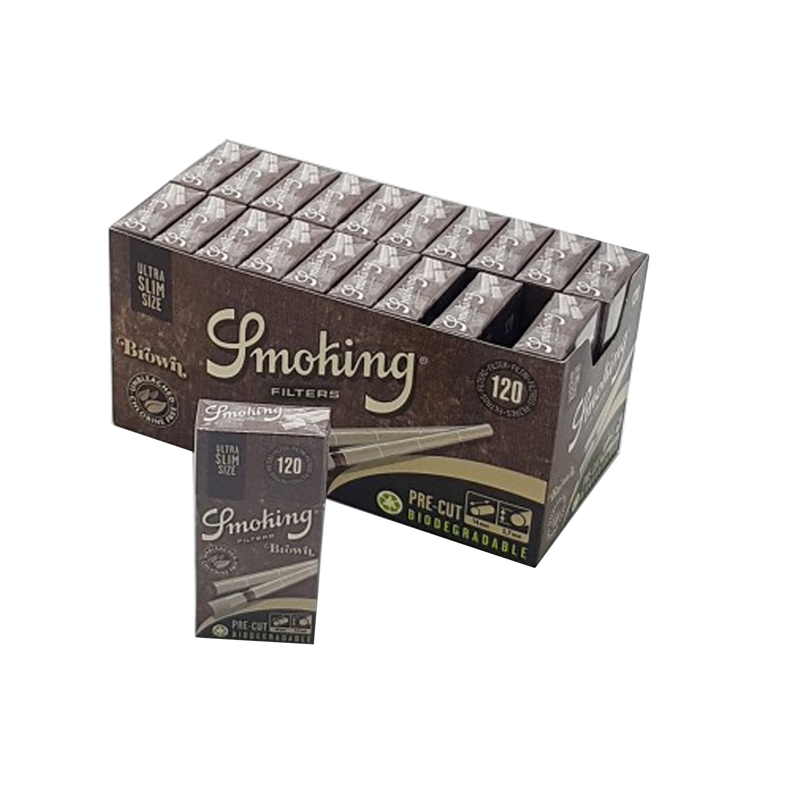 SMOKING FILTRI SLIM 6mm BROWN BIODEGRADABILI.BOX DA 10 BUSTINE DA 120 FILTRI