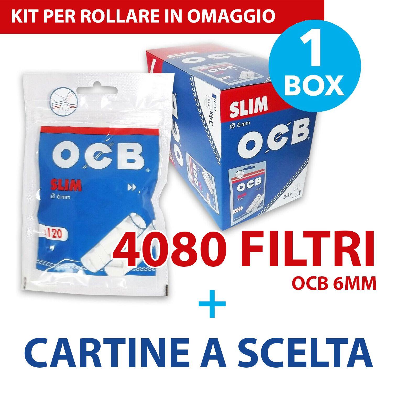 4080 FILTRI OCB SLIM 6mm in Box 34 BUSTINE da 120 pezzi 34 libretti OCB X-pert